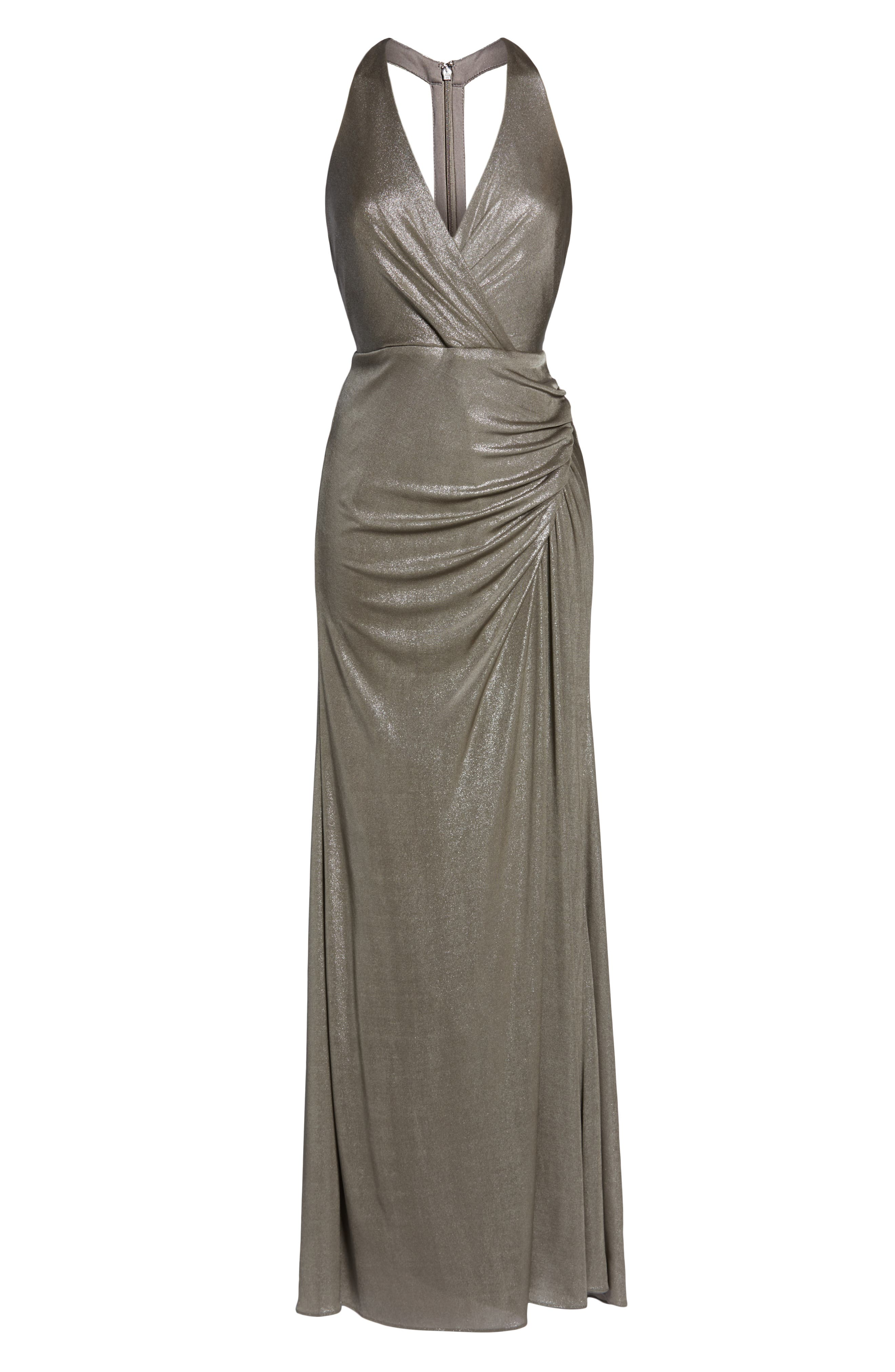 Ruched Metallic Jersey Gown,                             Alternate thumbnail 7, color,                             MINK