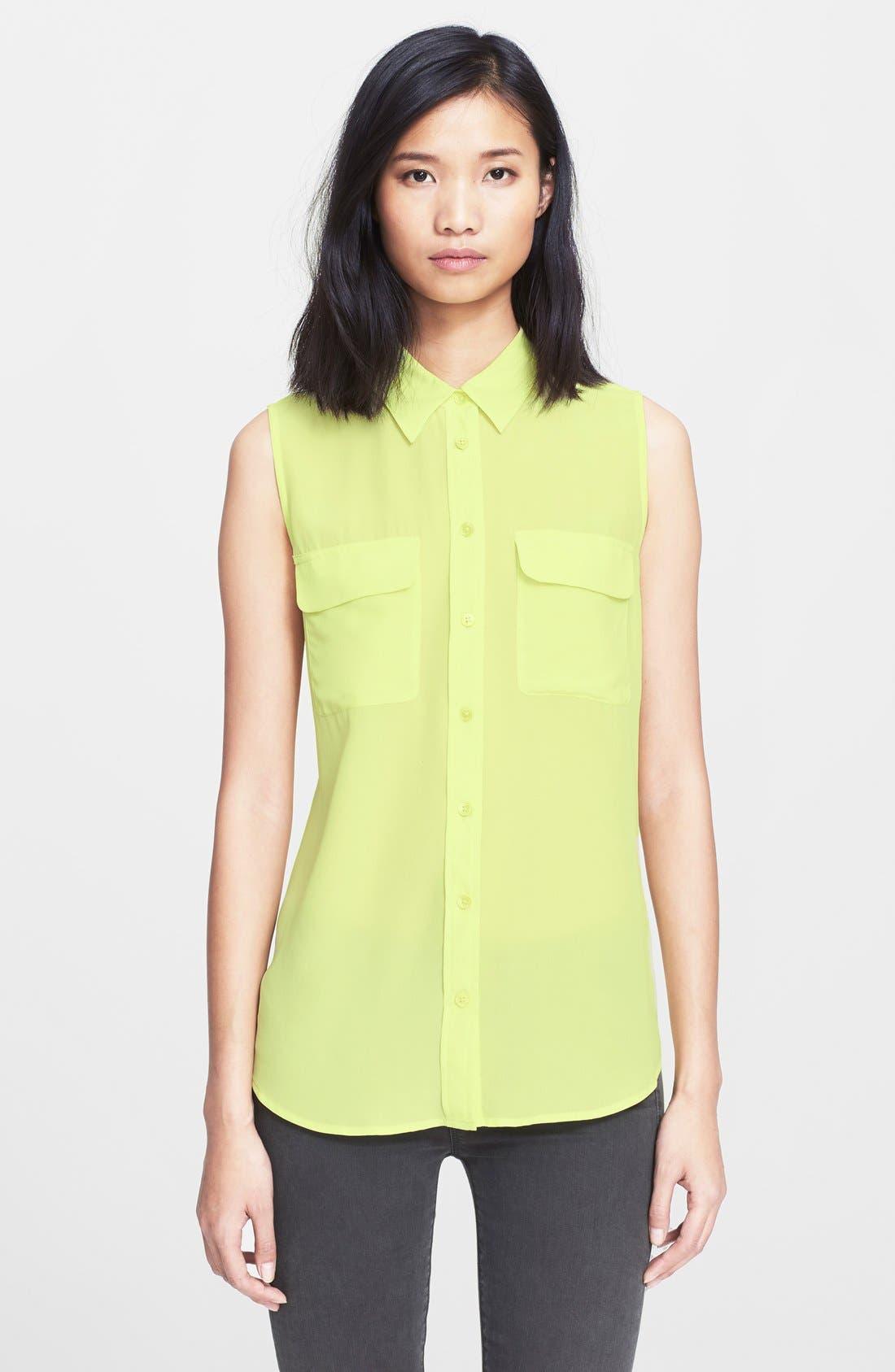 'Slim Signature' Sleeveless Silk Shirt,                             Main thumbnail 14, color,