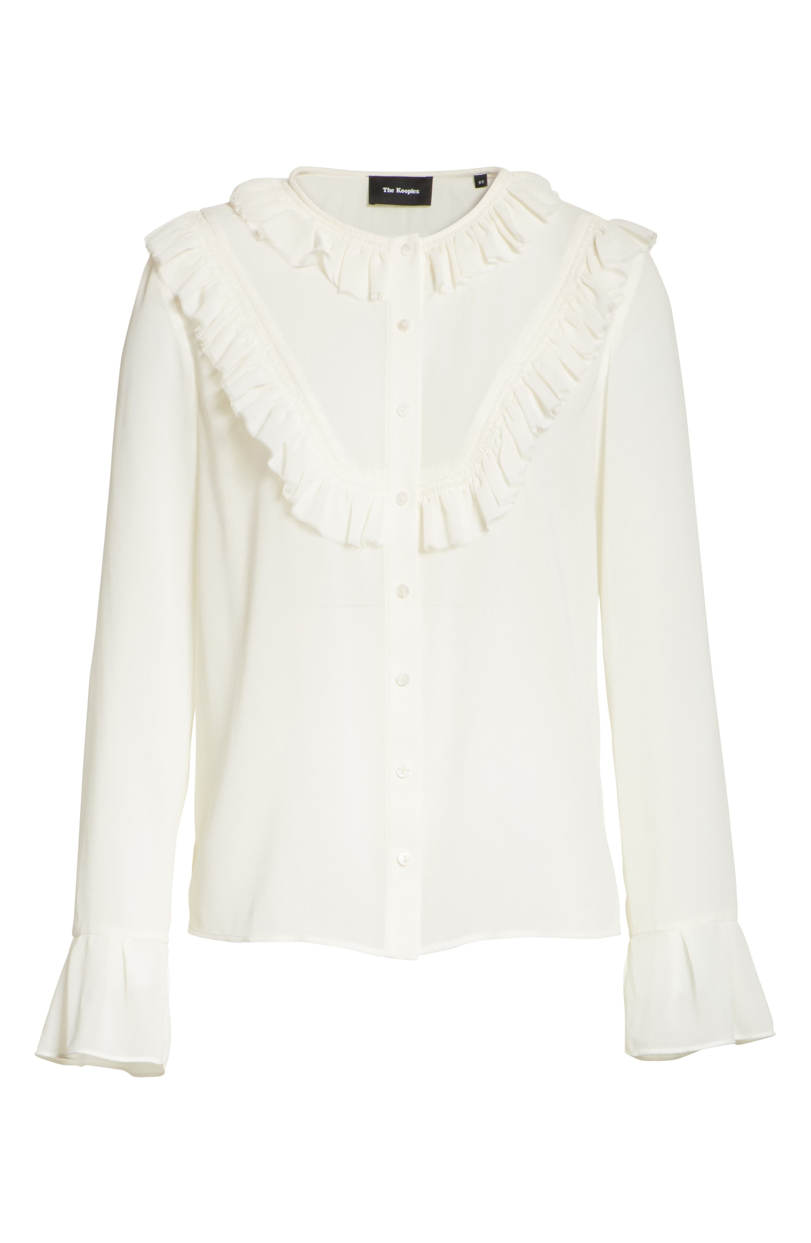 Pleated Ruffle Shirt,                             Alternate thumbnail 6, color,                             900