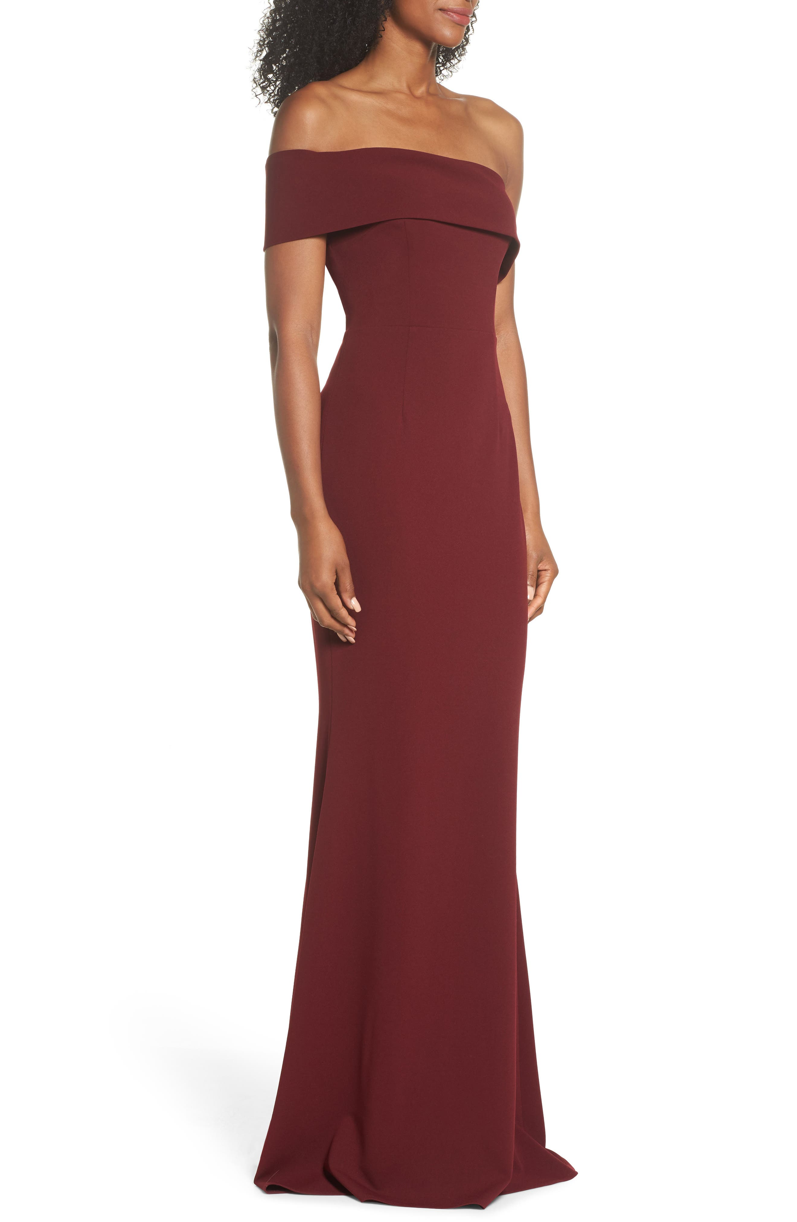Titan One-Shoulder Cutout Crepe Gown,                             Alternate thumbnail 3, color,                             BORDEAUX