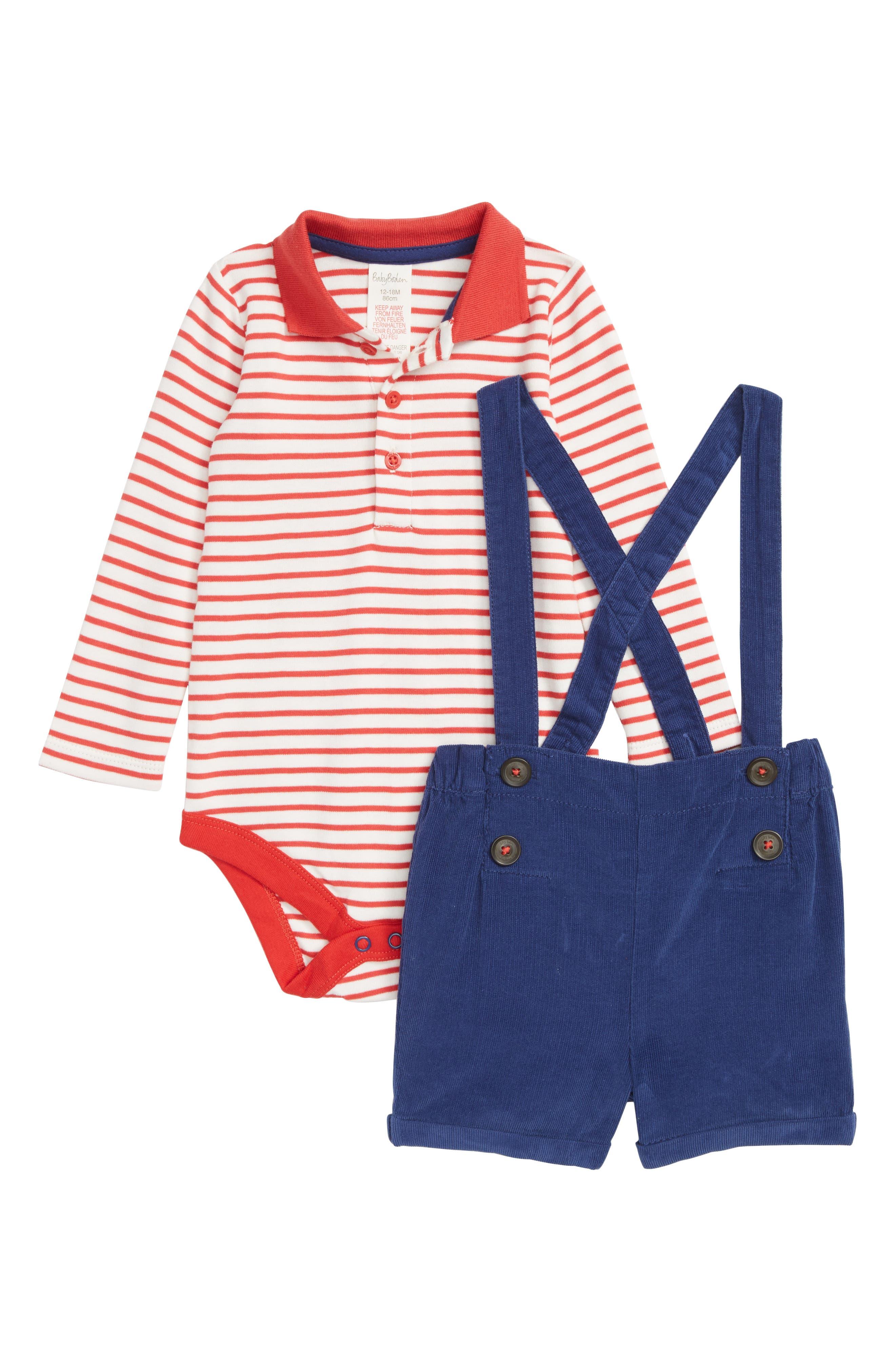 Nostalgic Bodysuit & Suspender Shorts Set,                             Main thumbnail 1, color,                             ENGINE RED