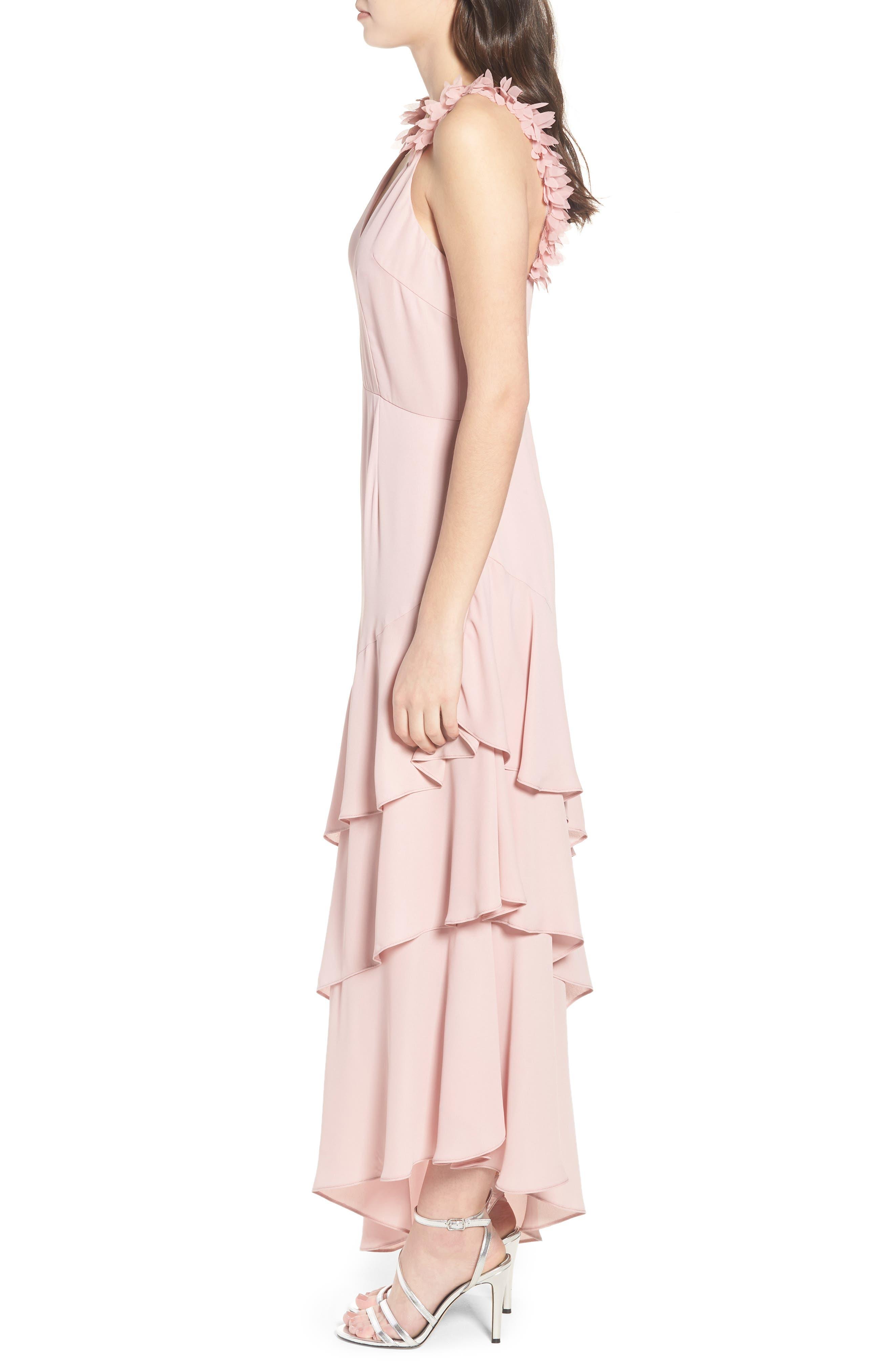 Ruffled Asymmetrical Maxi Dress,                             Alternate thumbnail 3, color,