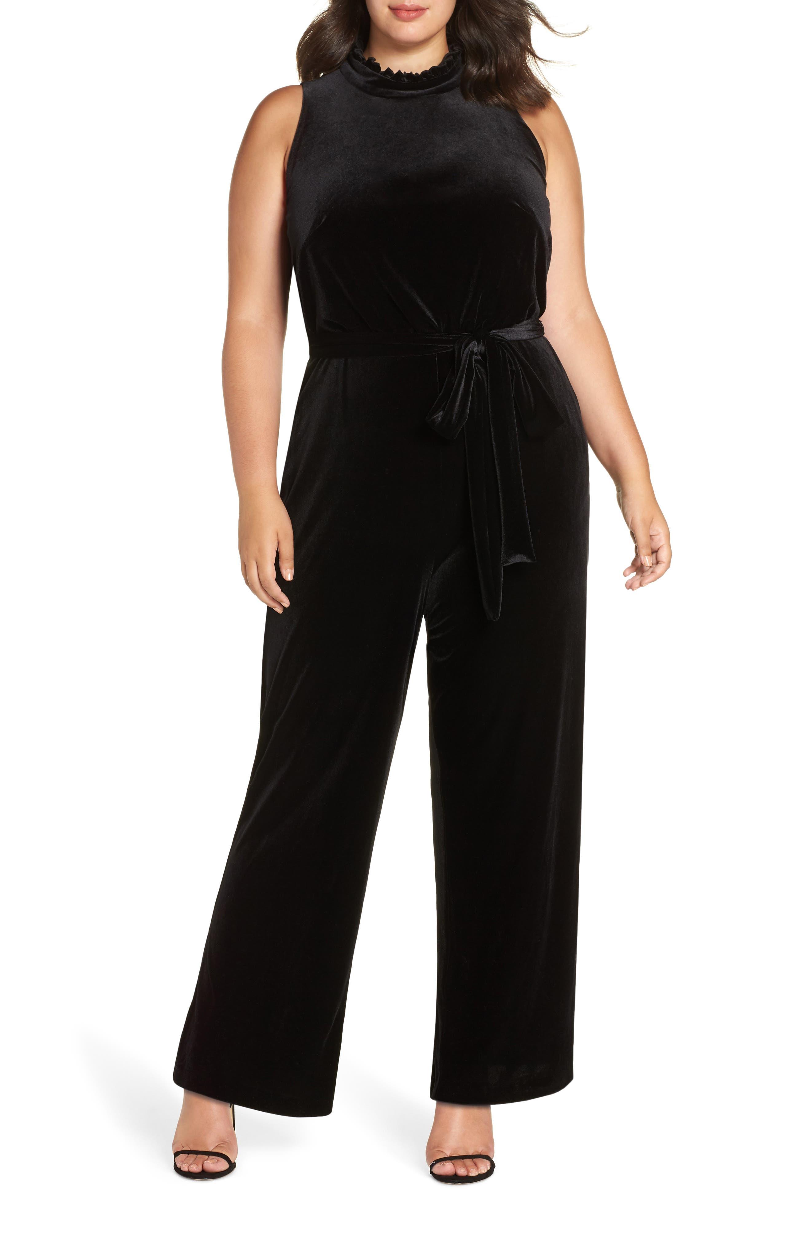Ruffle Neck Velvet Jumpsuit,                             Main thumbnail 1, color,                             BLACK