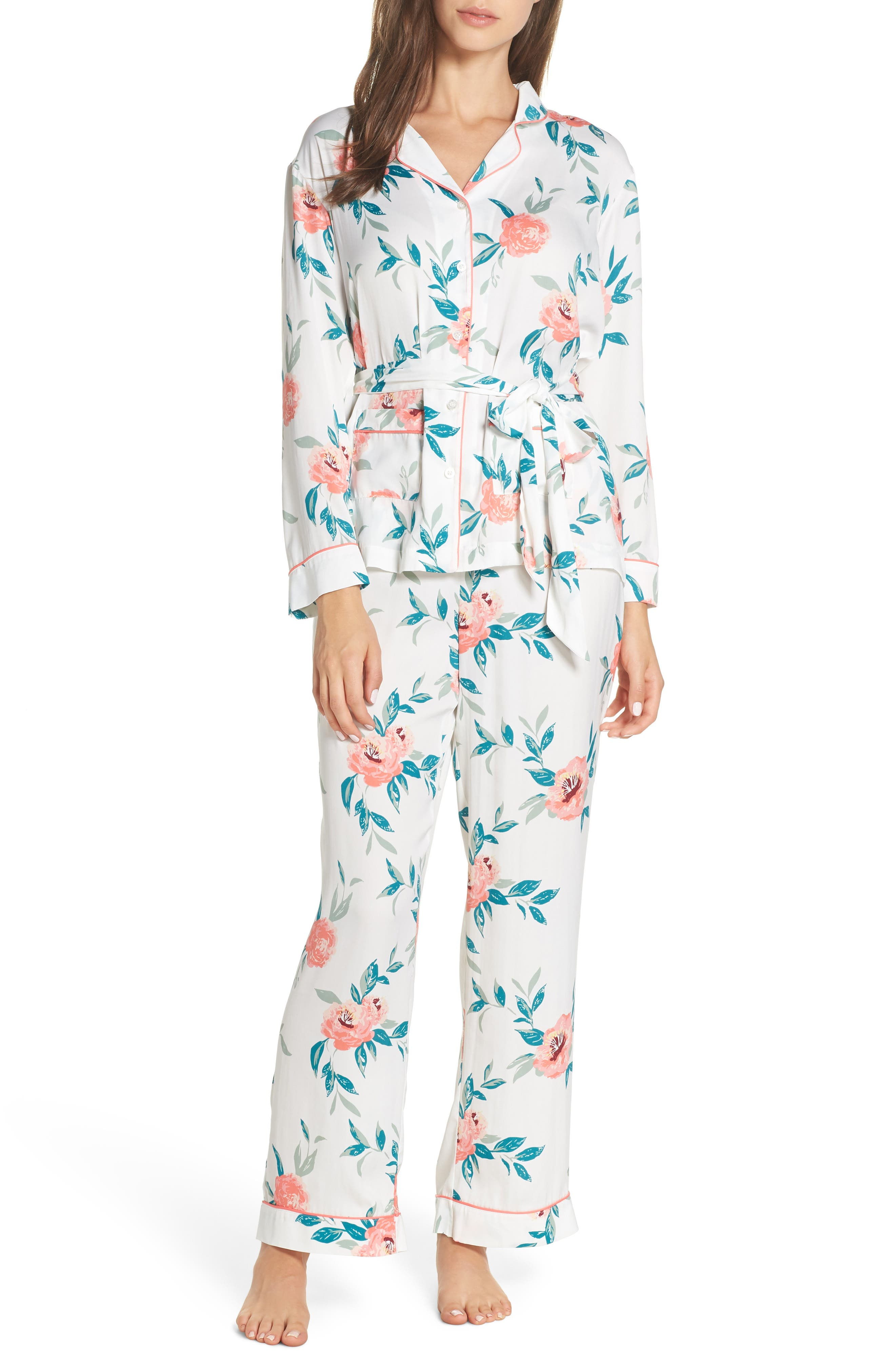 Sweet Dreams Wrap Pajamas,                             Main thumbnail 1, color,                             WHITE WINTER BLOOM
