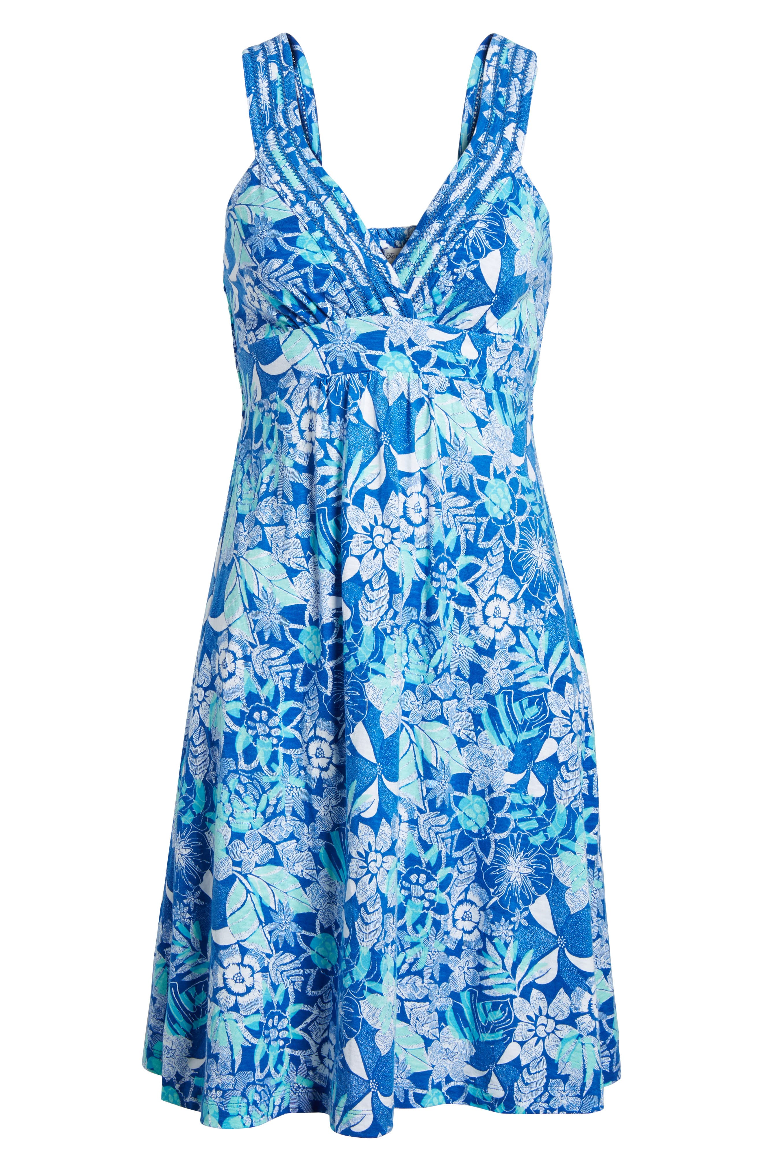 Boardwalk Blooms A-Line Dress,                             Alternate thumbnail 6, color,                             COBALT