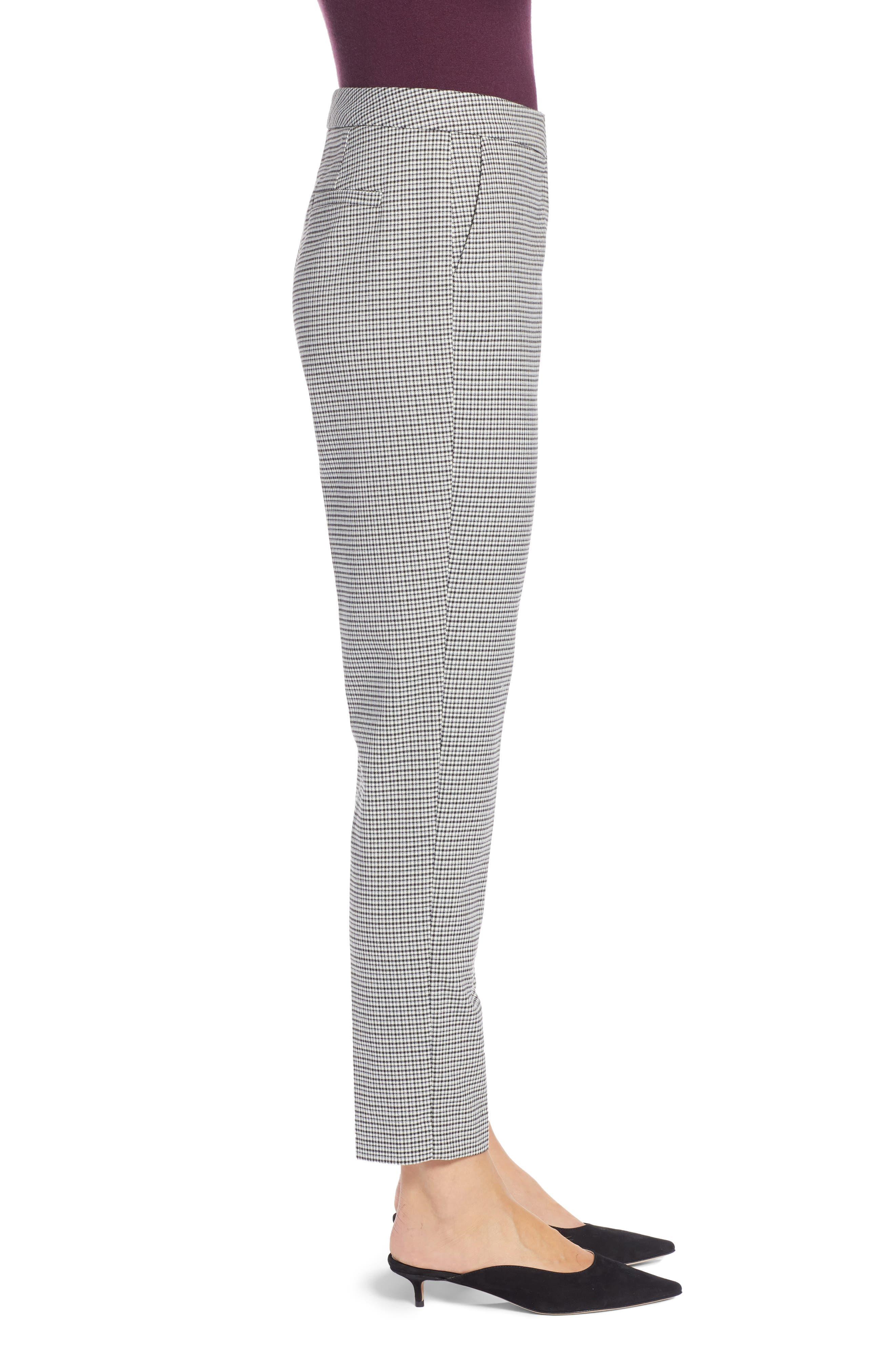 High Rise Skinny Ankle Pants,                             Alternate thumbnail 4, color,                             BLACK- IVORY PATTERN