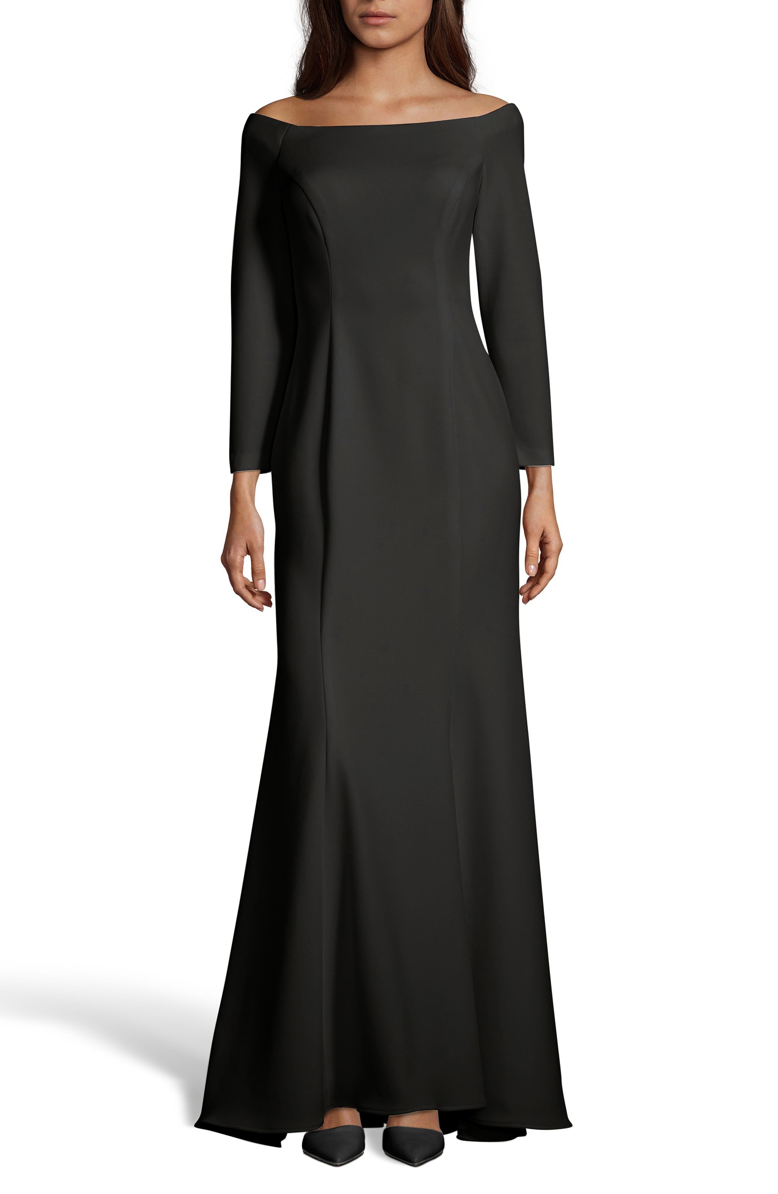 XSCAPE Off the Shoulder Trumpet Gown, Main, color, BLACK