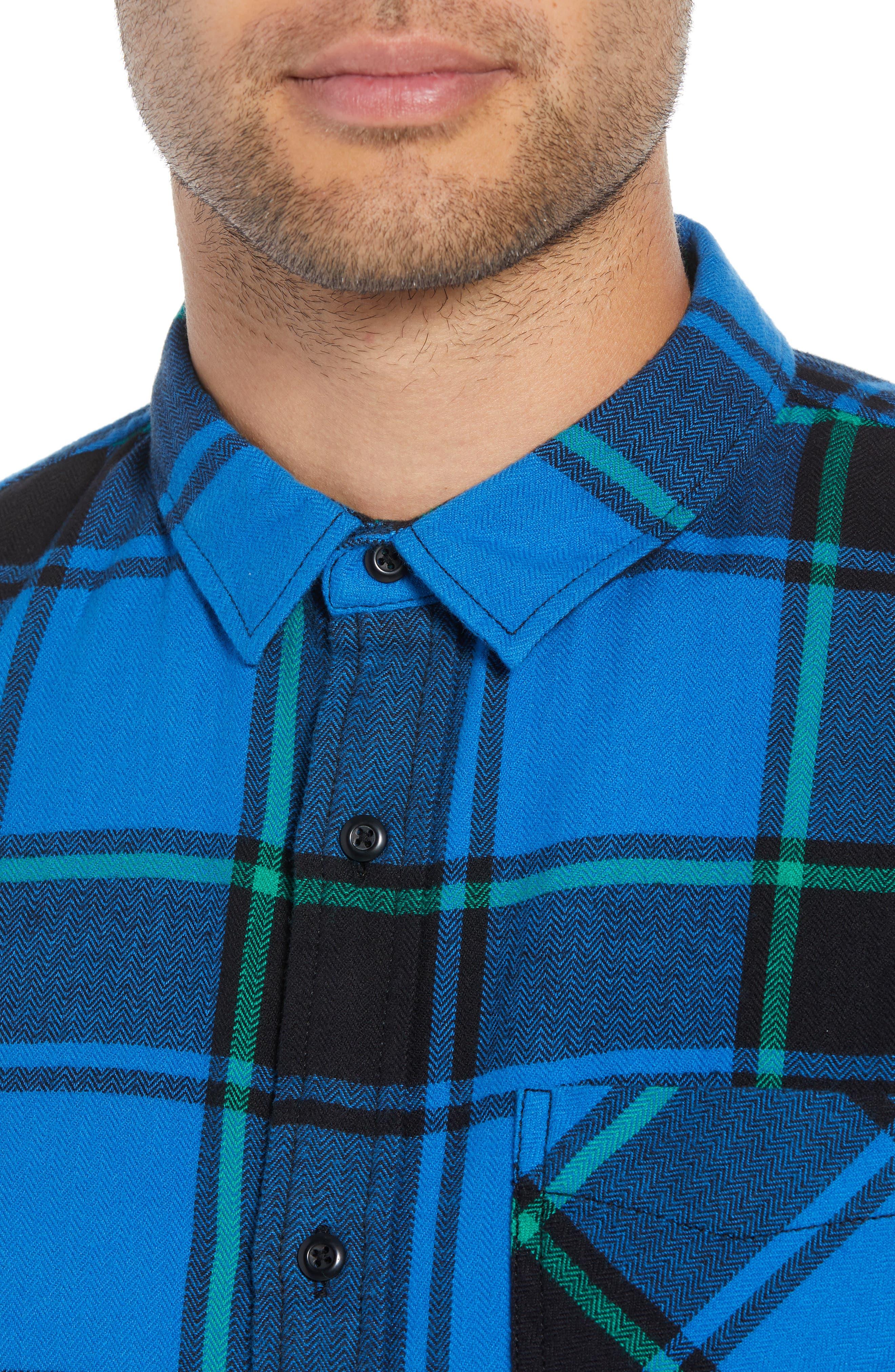 Plaid Flannel Shirt,                             Alternate thumbnail 4, color,                             BLUE BLACK REESE PLAID