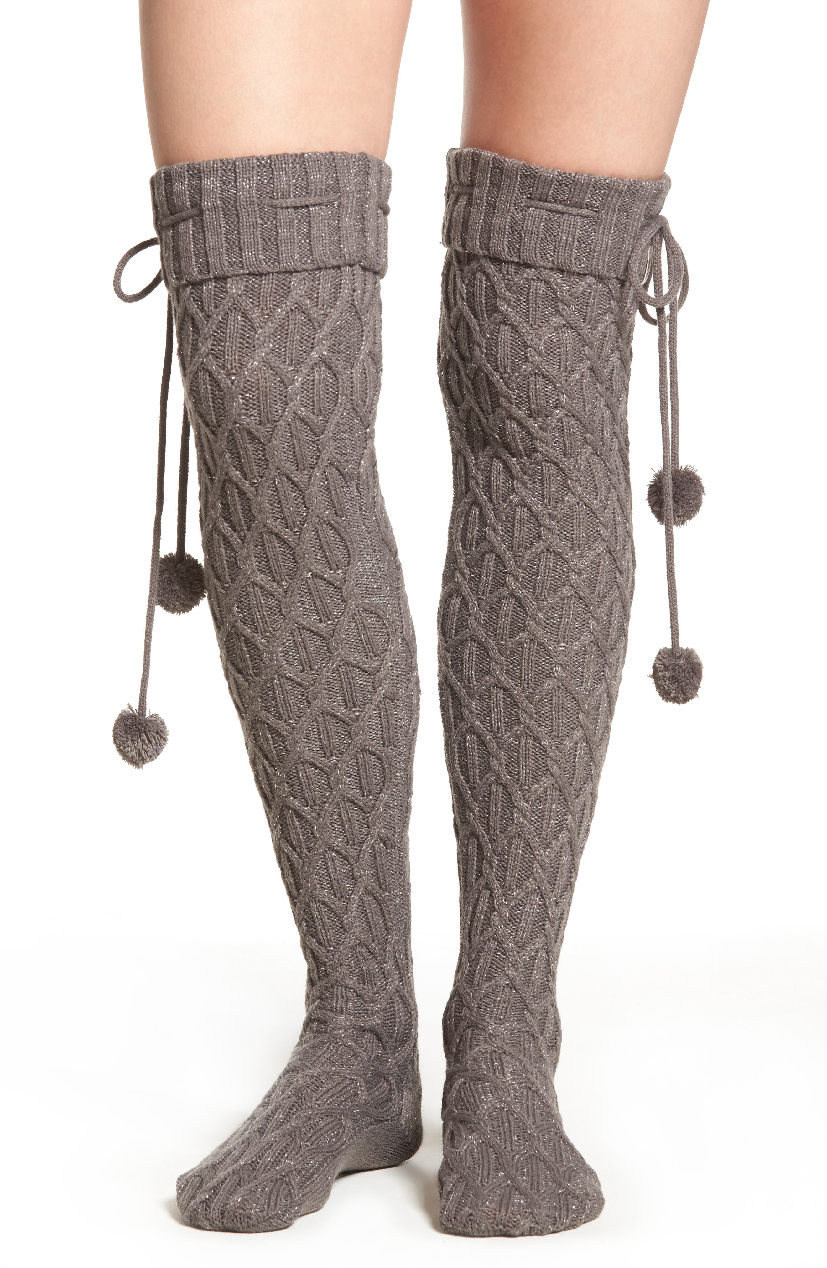 UGG<SUP>®</SUP> Sparkle Cable Knit Over the Knee Socks, Main, color, 020