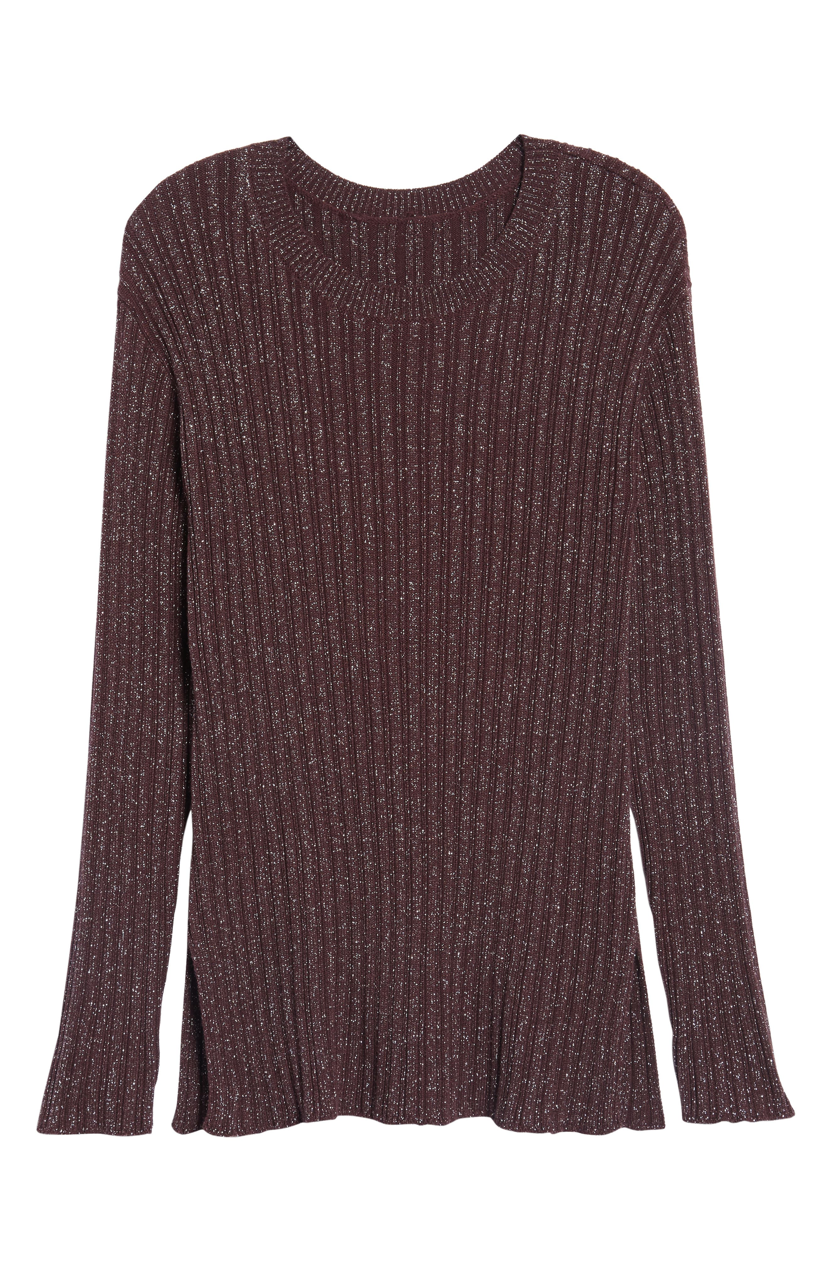 Metallic Ribbed Sweater,                             Alternate thumbnail 6, color,