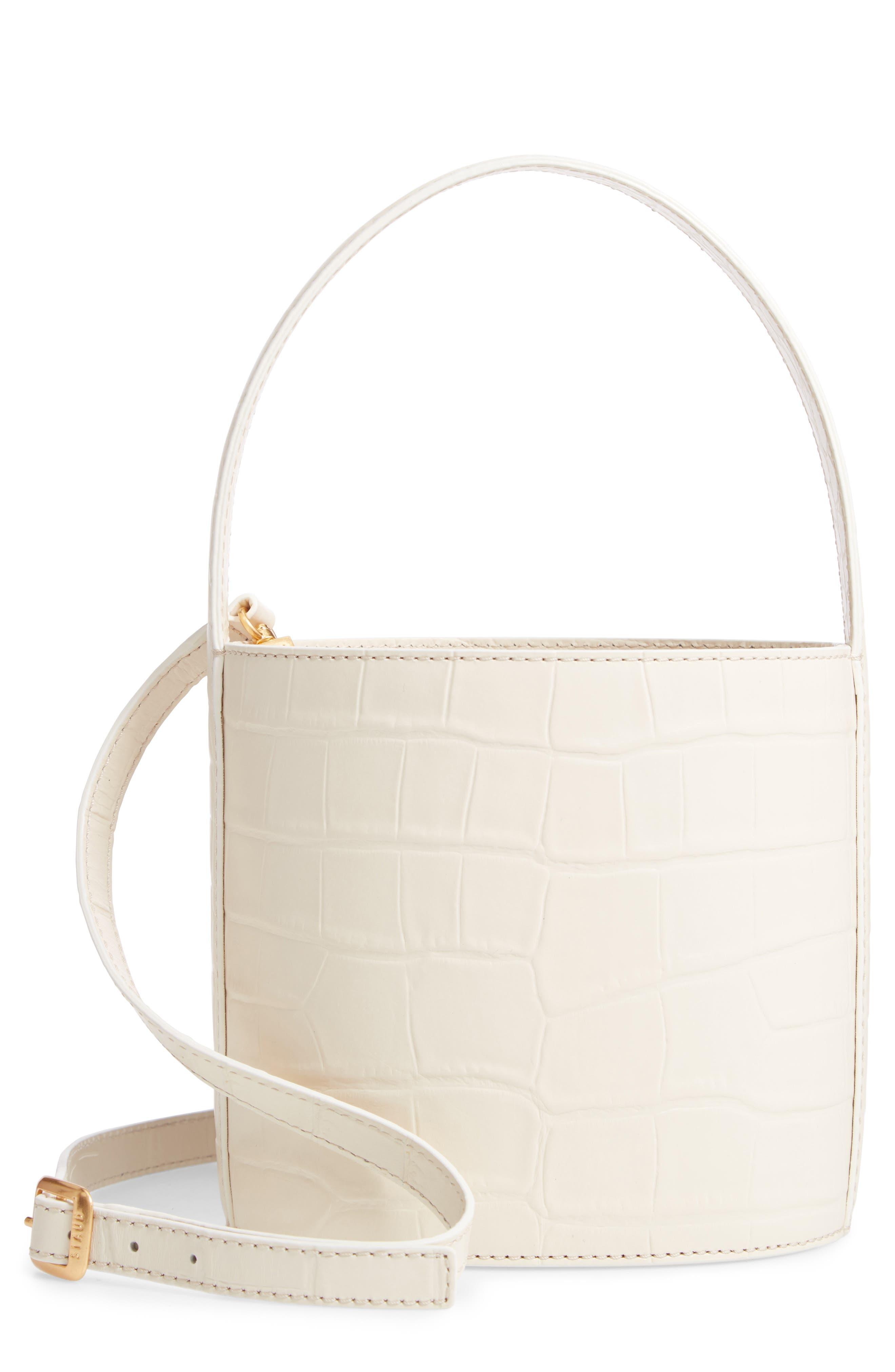Bissett Croc Embossed Leather Bucket Bag - Ivory in Cream