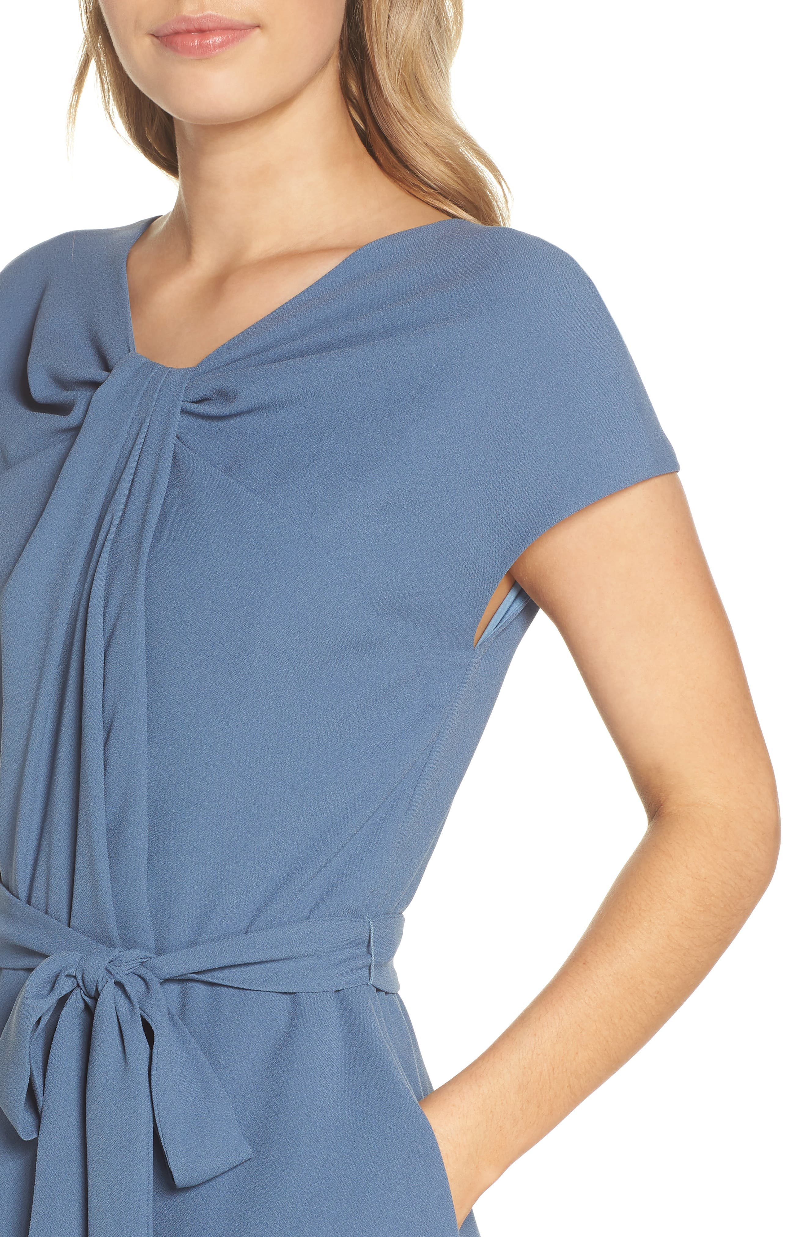 Vivian Twist Neck Fit & Flare Dress,                             Alternate thumbnail 4, color,                             DUSTY BLUE