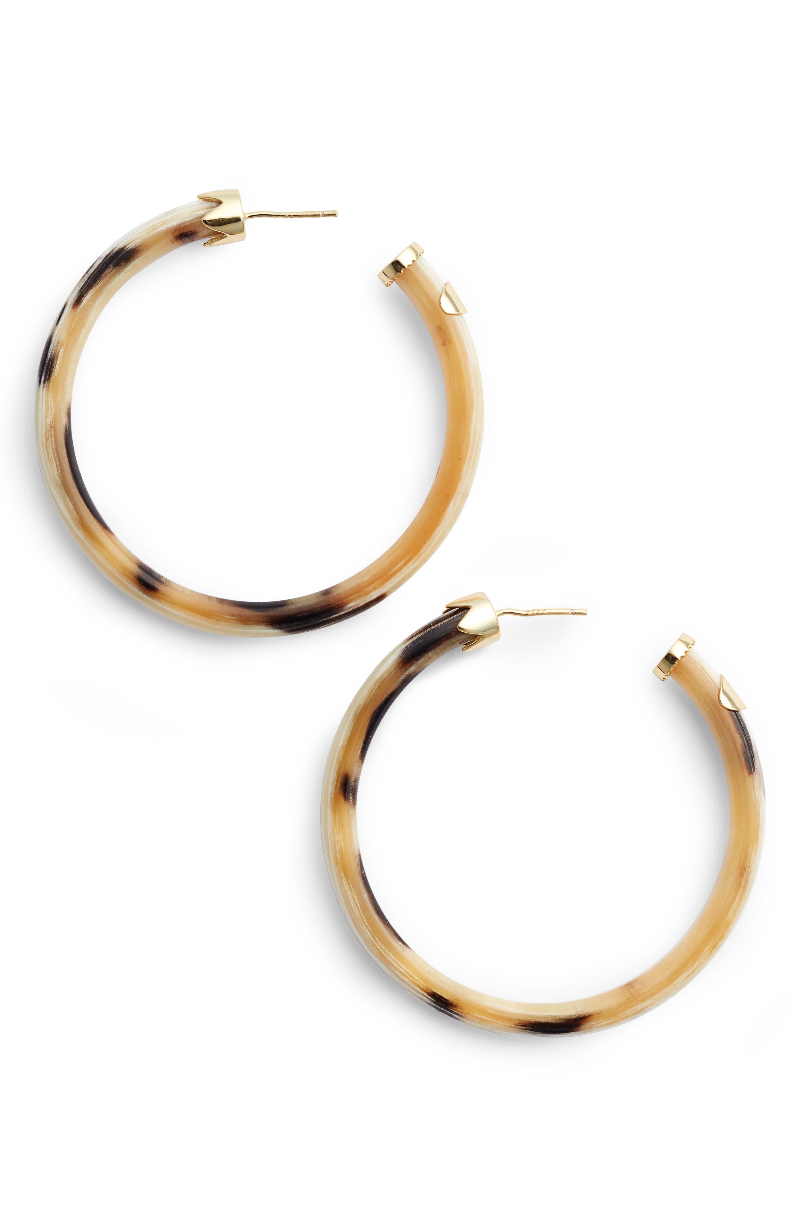 Horn Hoop Earrings,                             Main thumbnail 2, color,