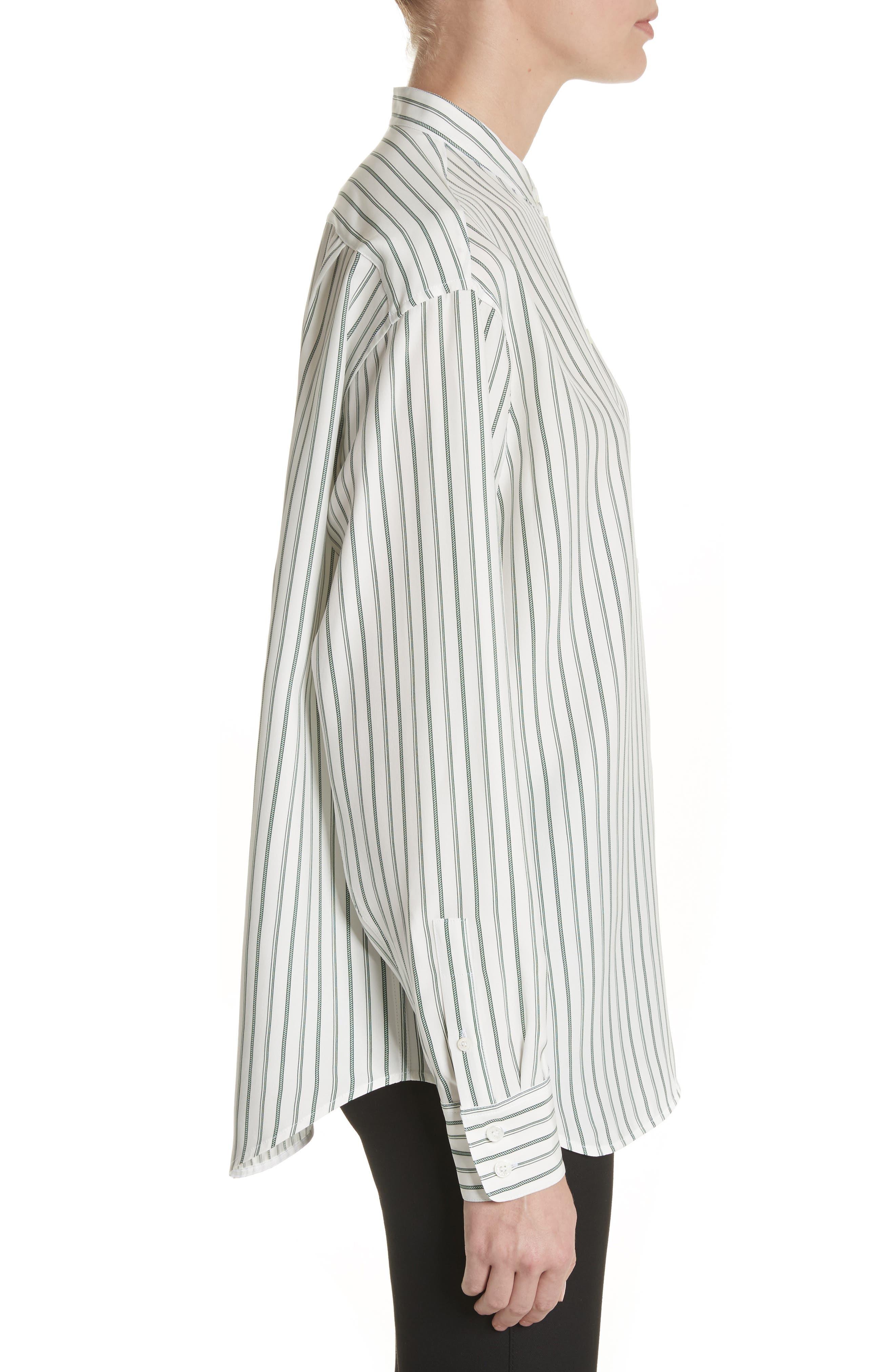 Stripe Silk Granddad Shirt,                             Alternate thumbnail 3, color,                             DARK GREEN/ OFF WHITE