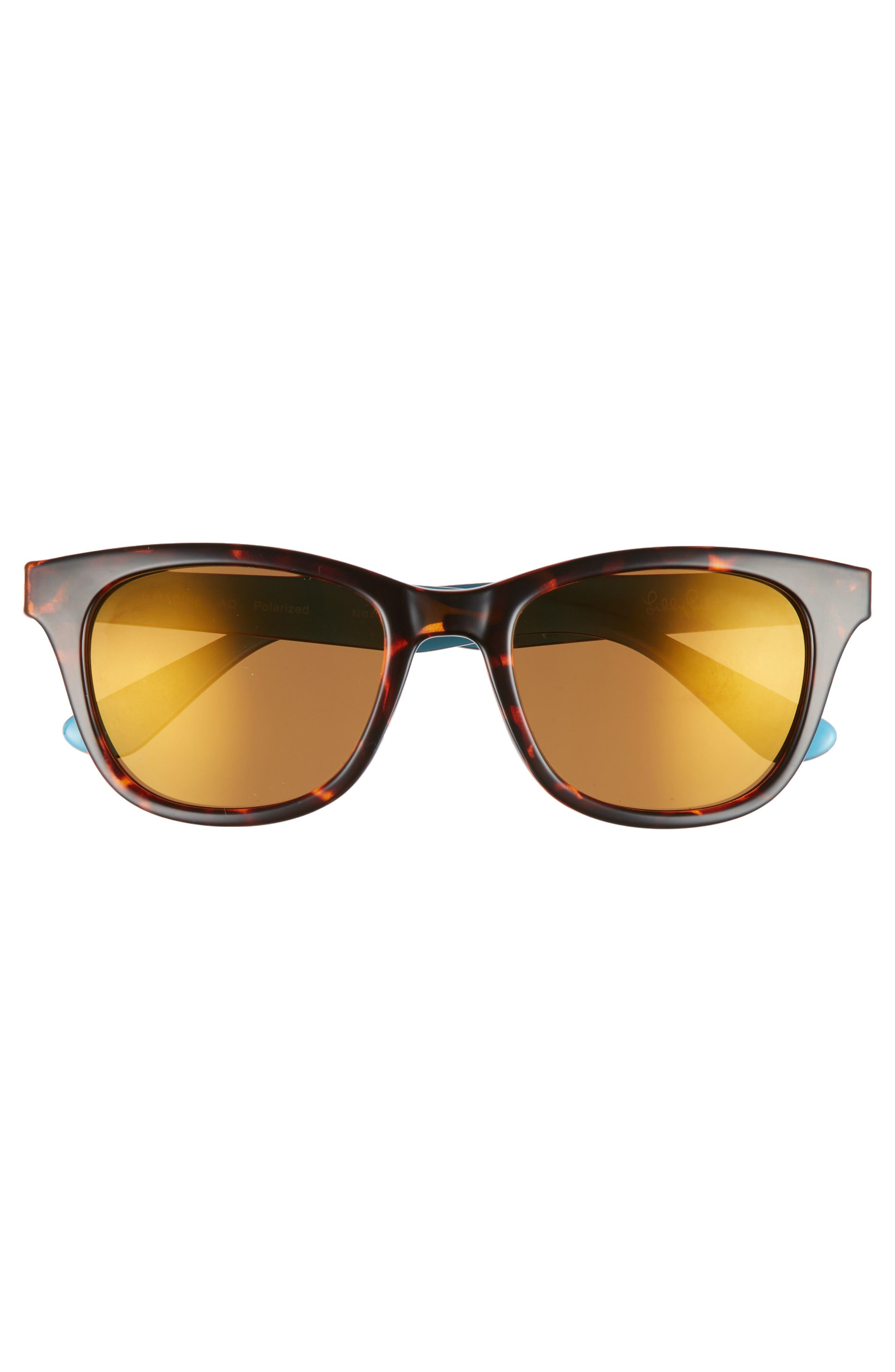 Maddie 52mm Polarized Mirrored Sunglasses,                             Alternate thumbnail 3, color,                             AQUA/ GOLD FLASH