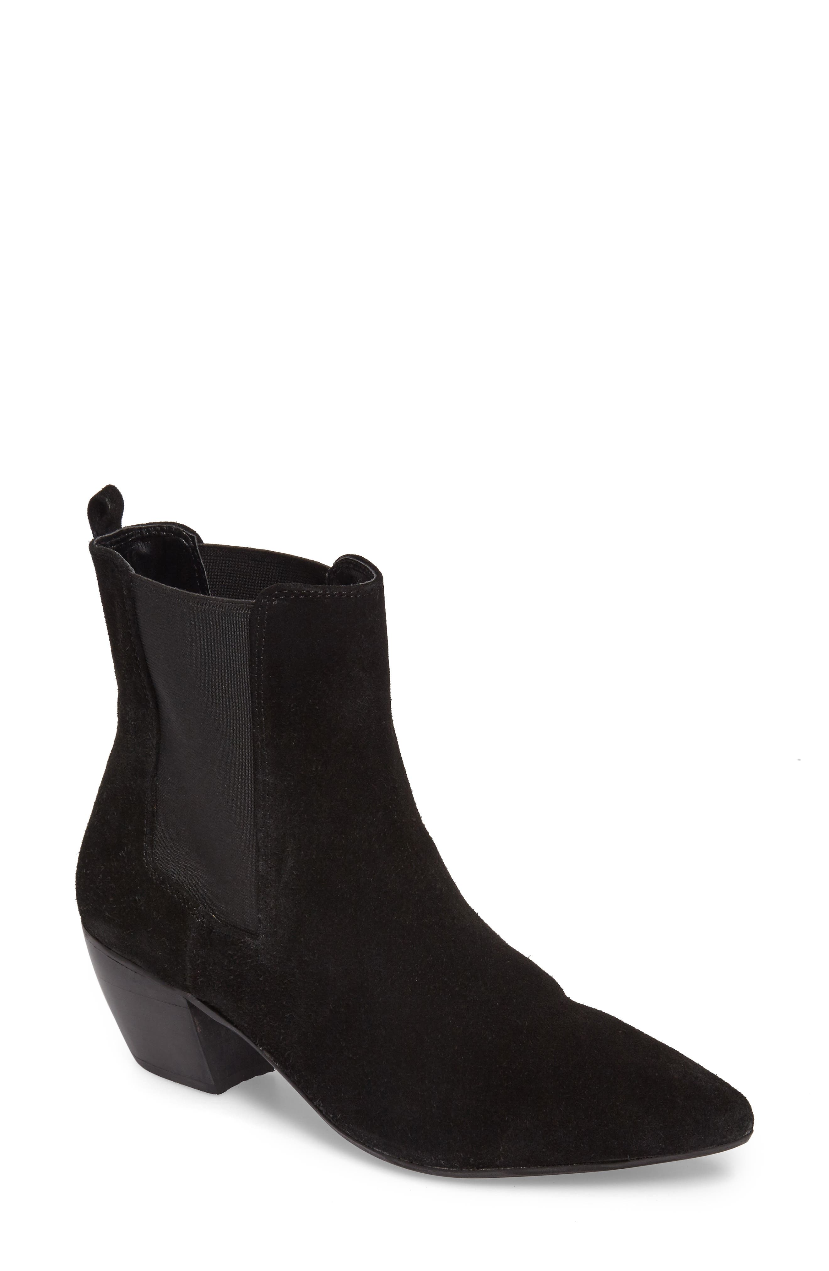 Bounty Suede Pointy Toe Bootie,                             Main thumbnail 1, color,