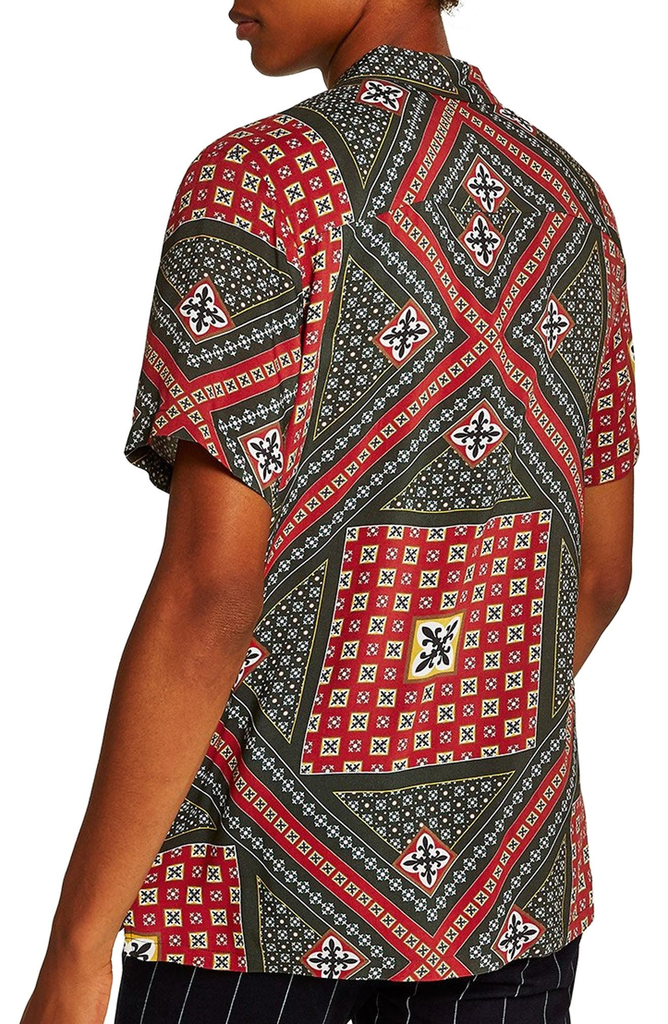 Geometric Classic Fit Shirt,                             Alternate thumbnail 3, color,                             RED MULTI