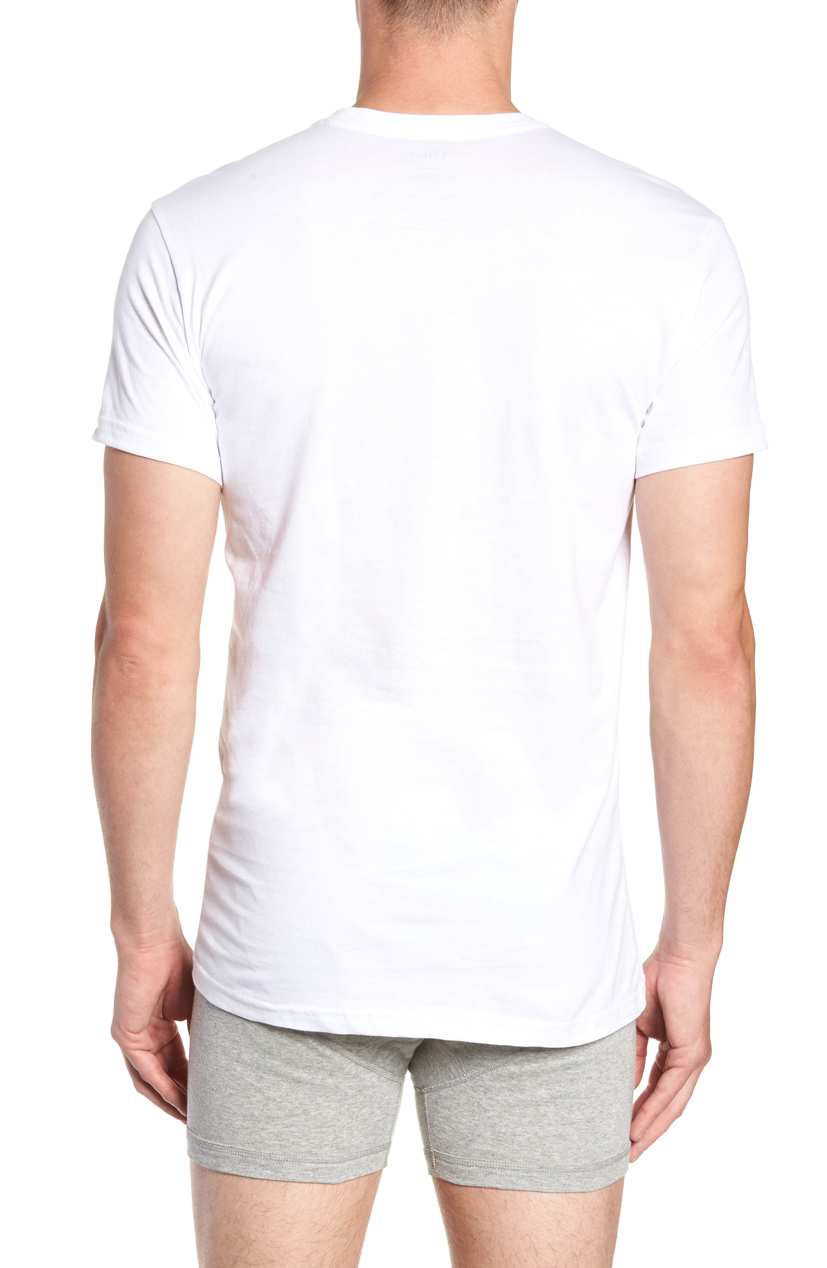 Polo Ralph Lauren 3-Pack Slim Fit V-Neck T-Shirts,                             Alternate thumbnail 3, color,                             WHITE