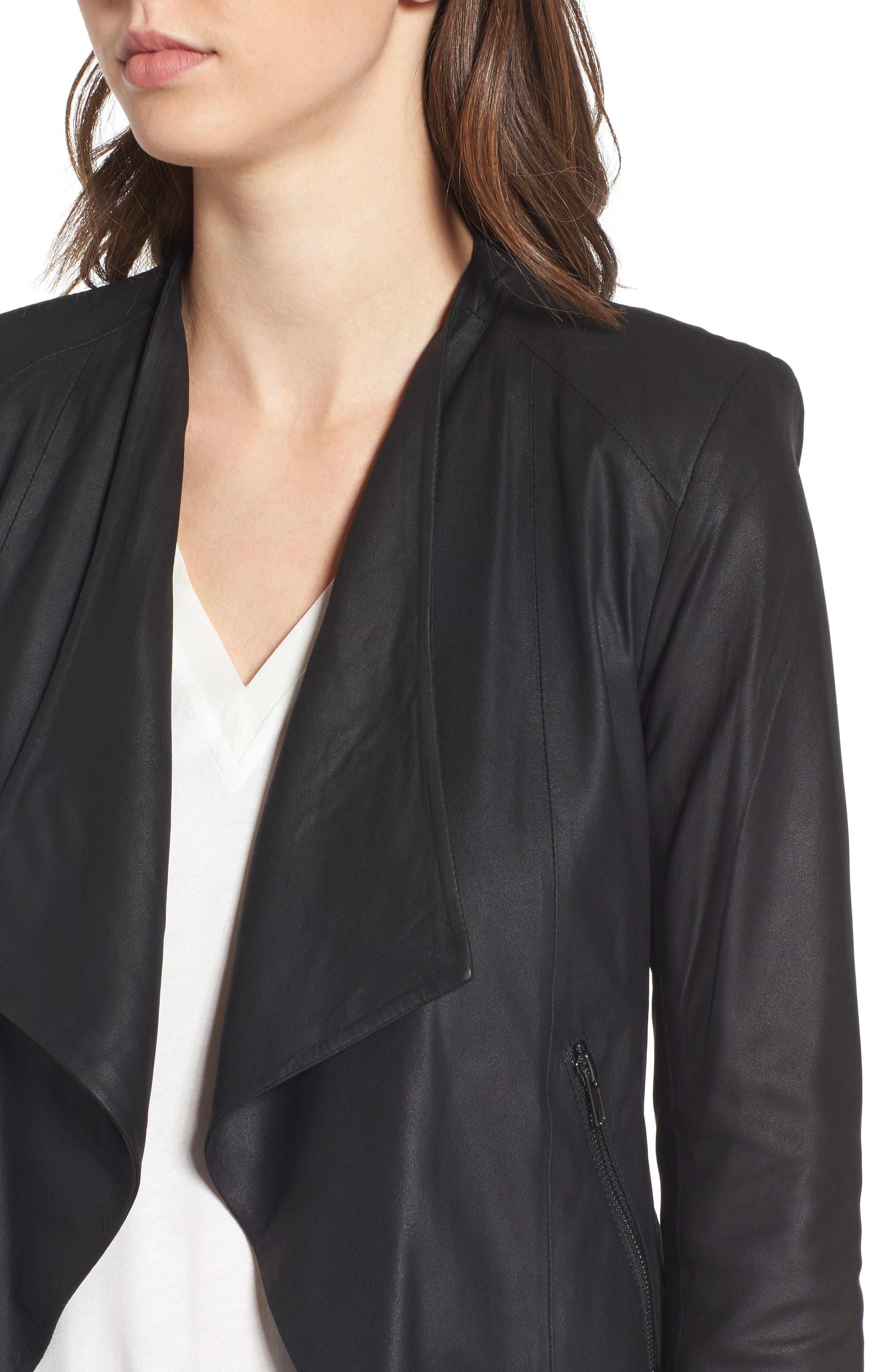 Brycen Leather Drape Front Jacket,                             Alternate thumbnail 4, color,                             001
