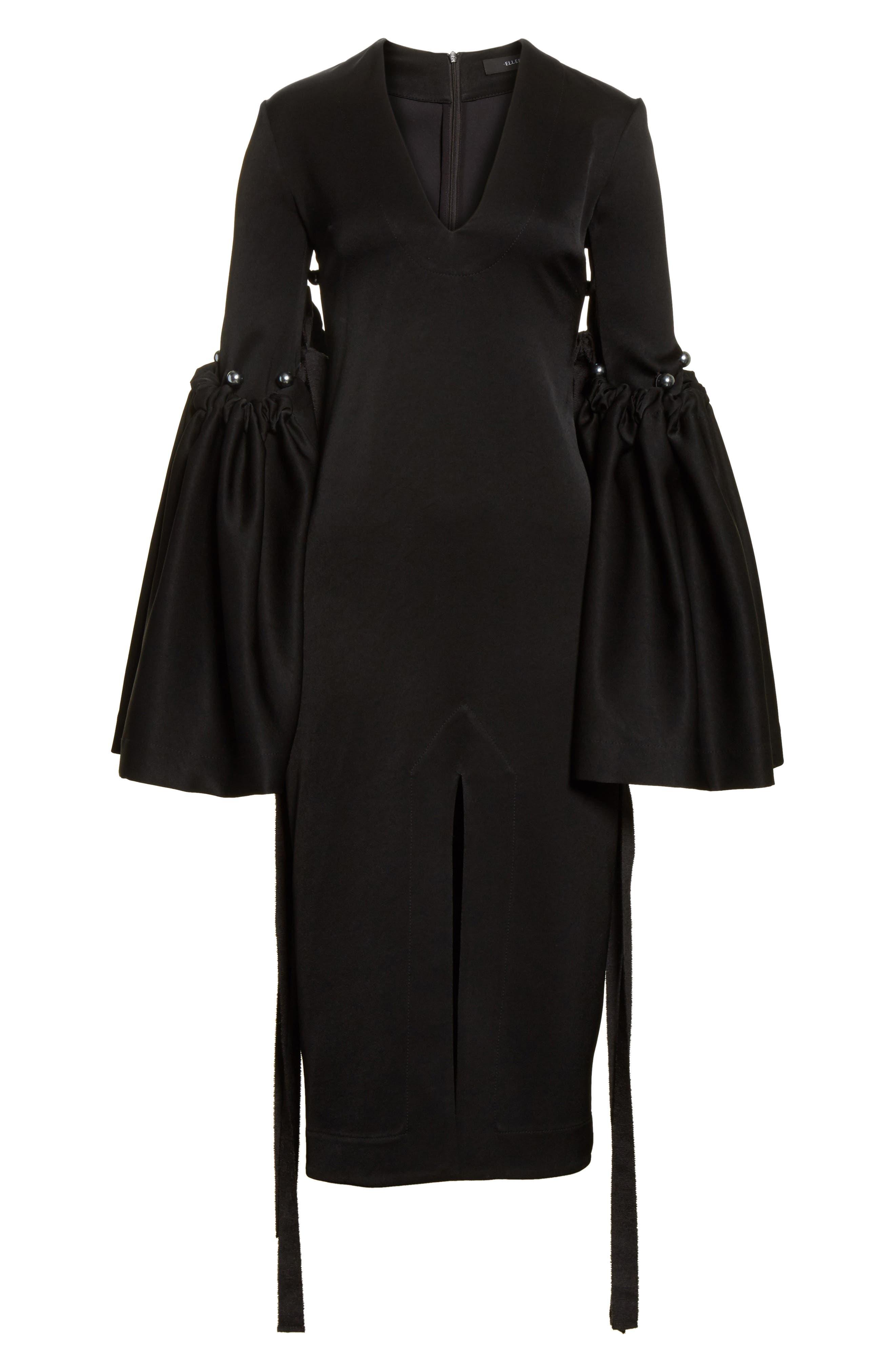 Adage Detachable Bell Sleeve Dress,                             Alternate thumbnail 6, color,                             001