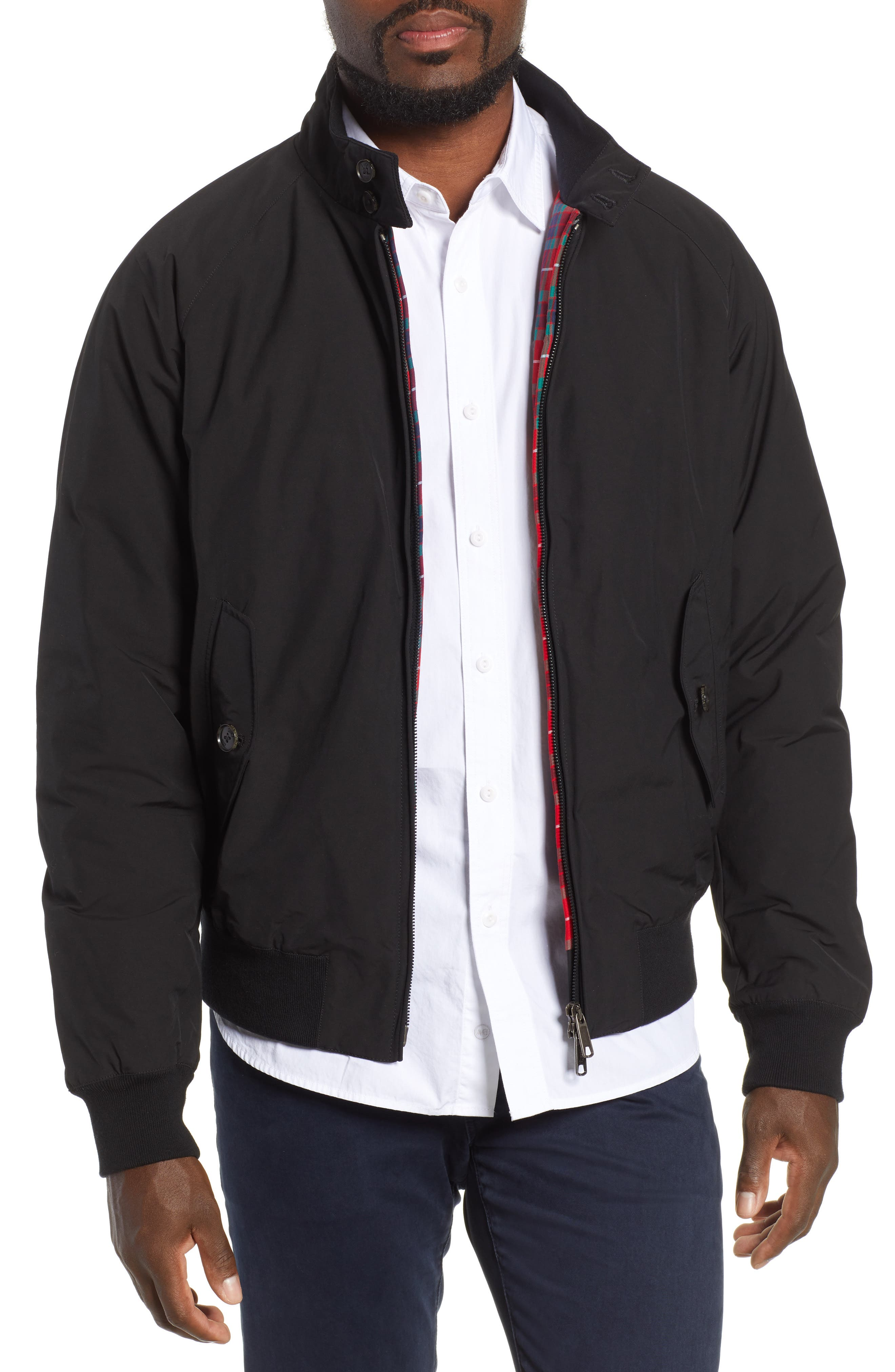 G9 Water Resistant Harrington Jacket,                             Main thumbnail 1, color,                             BLACK