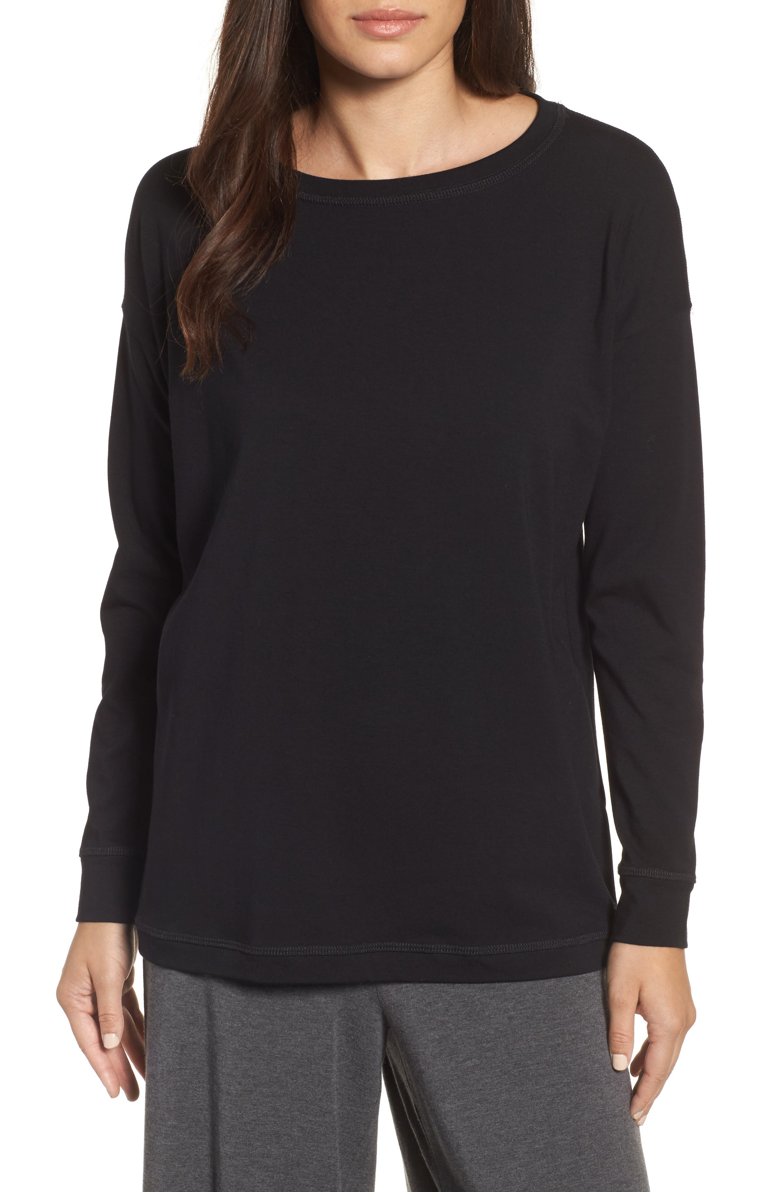 Jewel Neck Organic Stretch Cotton Tee,                             Main thumbnail 1, color,                             001