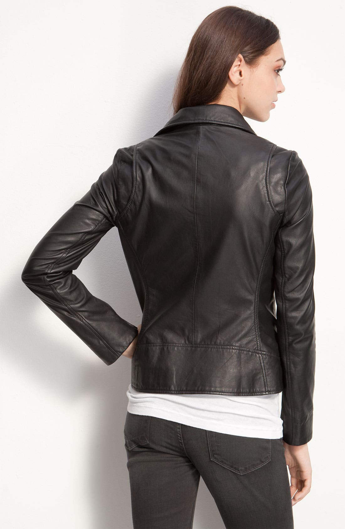 Kenna-T Classic Leather Moto Jacket,                             Alternate thumbnail 4, color,                             001