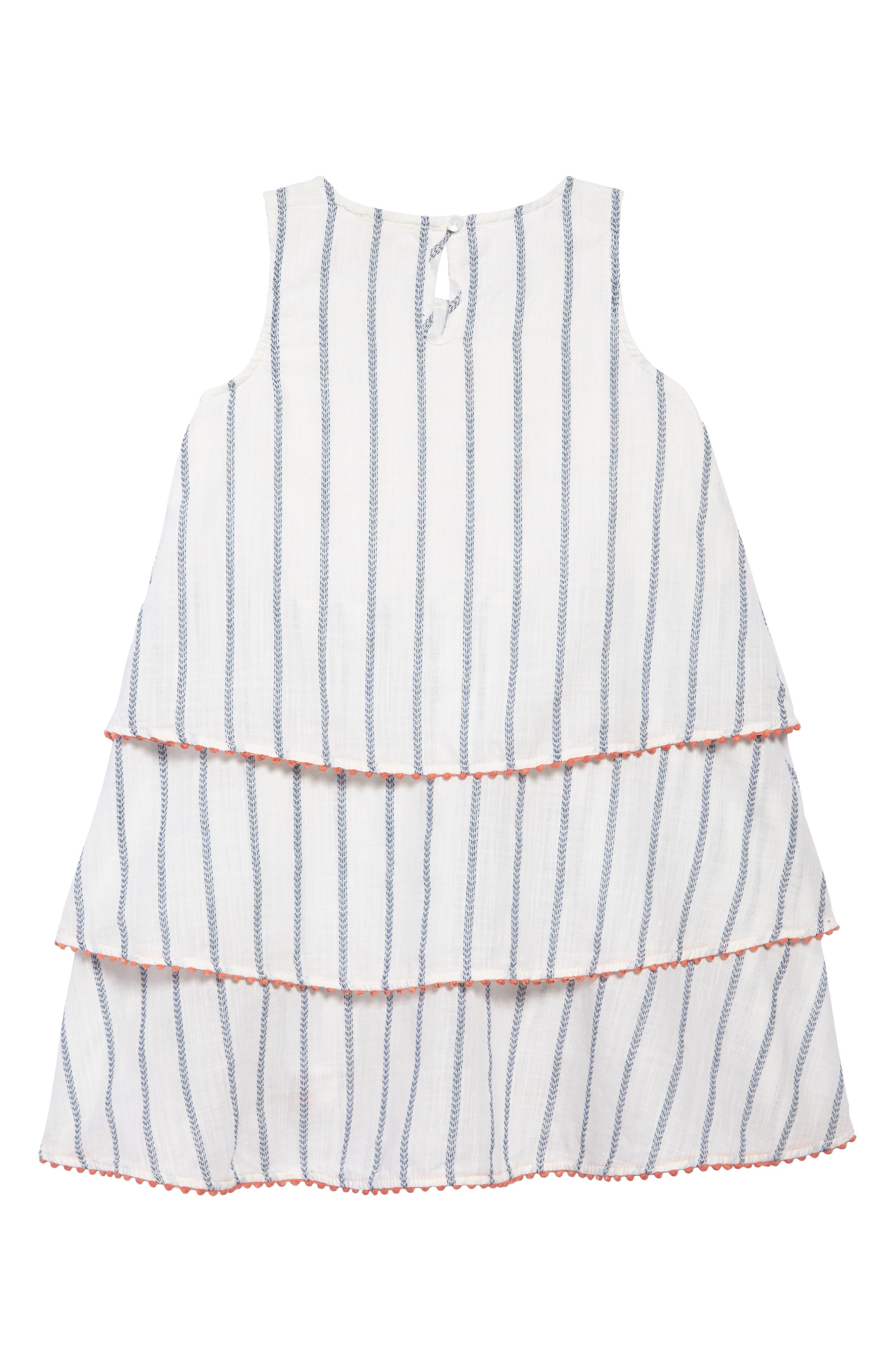 Tiered Woven Dress,                             Alternate thumbnail 2, color,                             WHITE- BLUE STRIPE