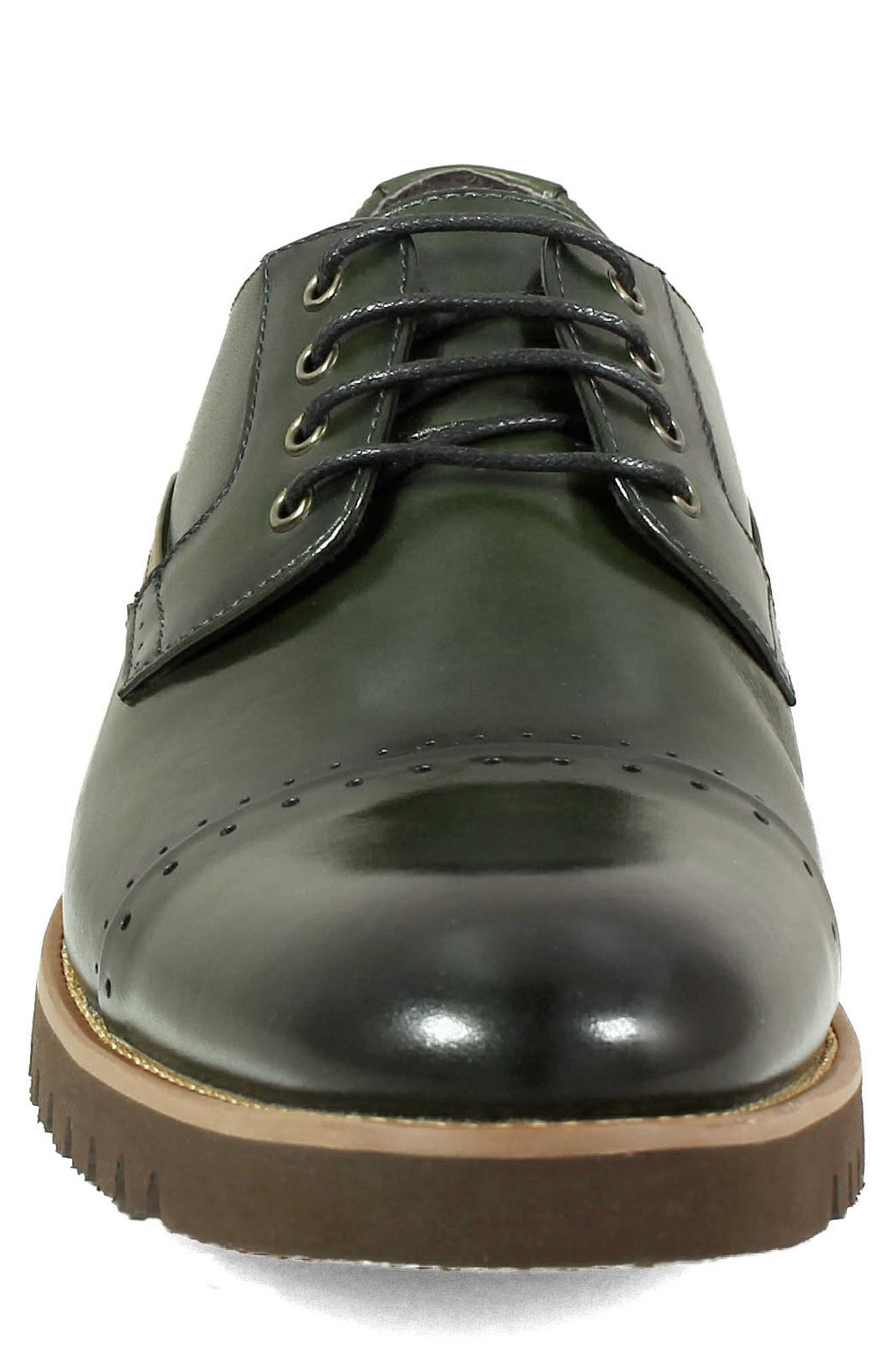 Barcliff Cap Toe Derby,                             Alternate thumbnail 4, color,                             CARGO GREEN LEATHER