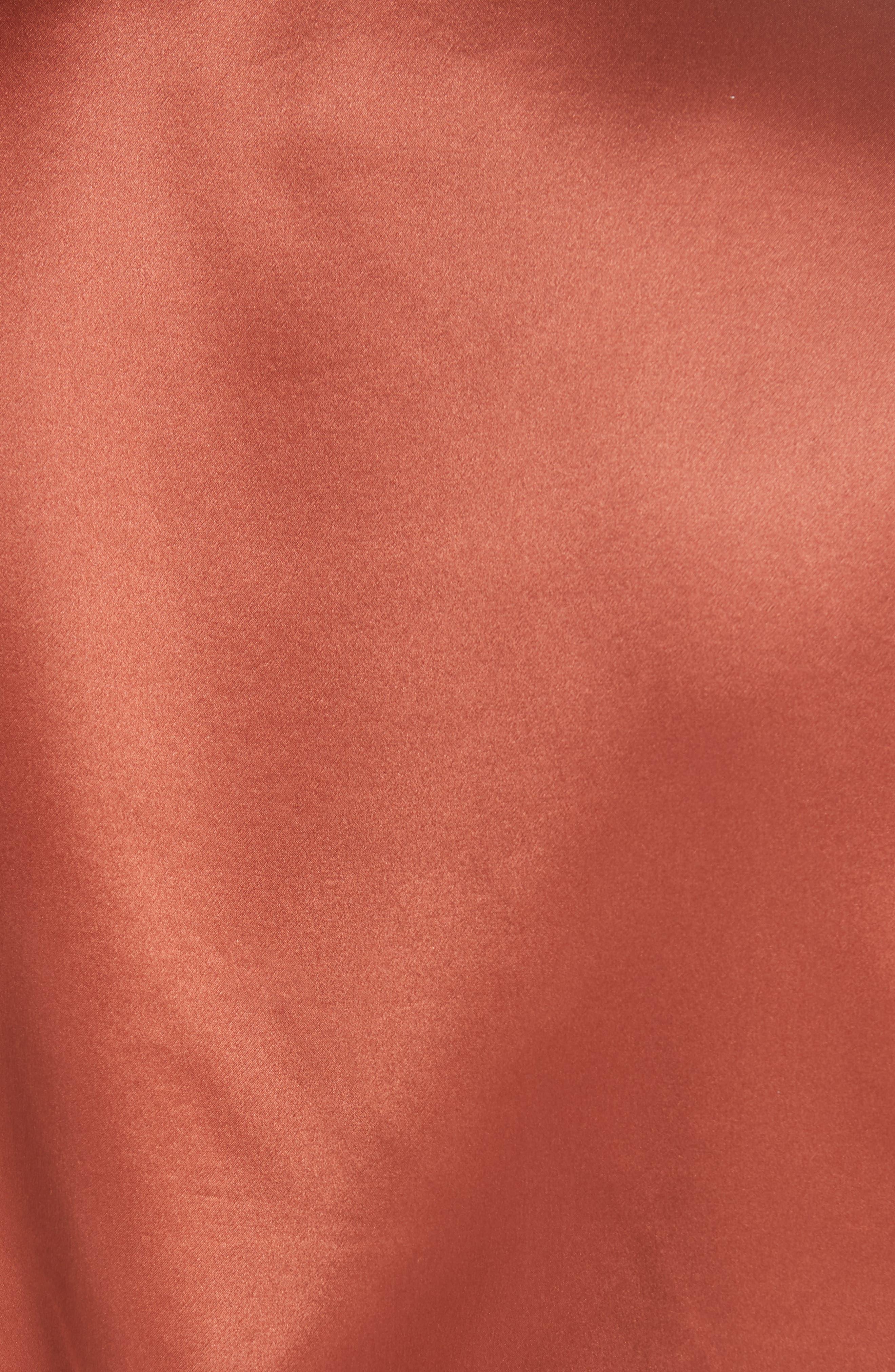 Lea Silk Wrap Dress,                             Alternate thumbnail 5, color,                             DEEP RUSH