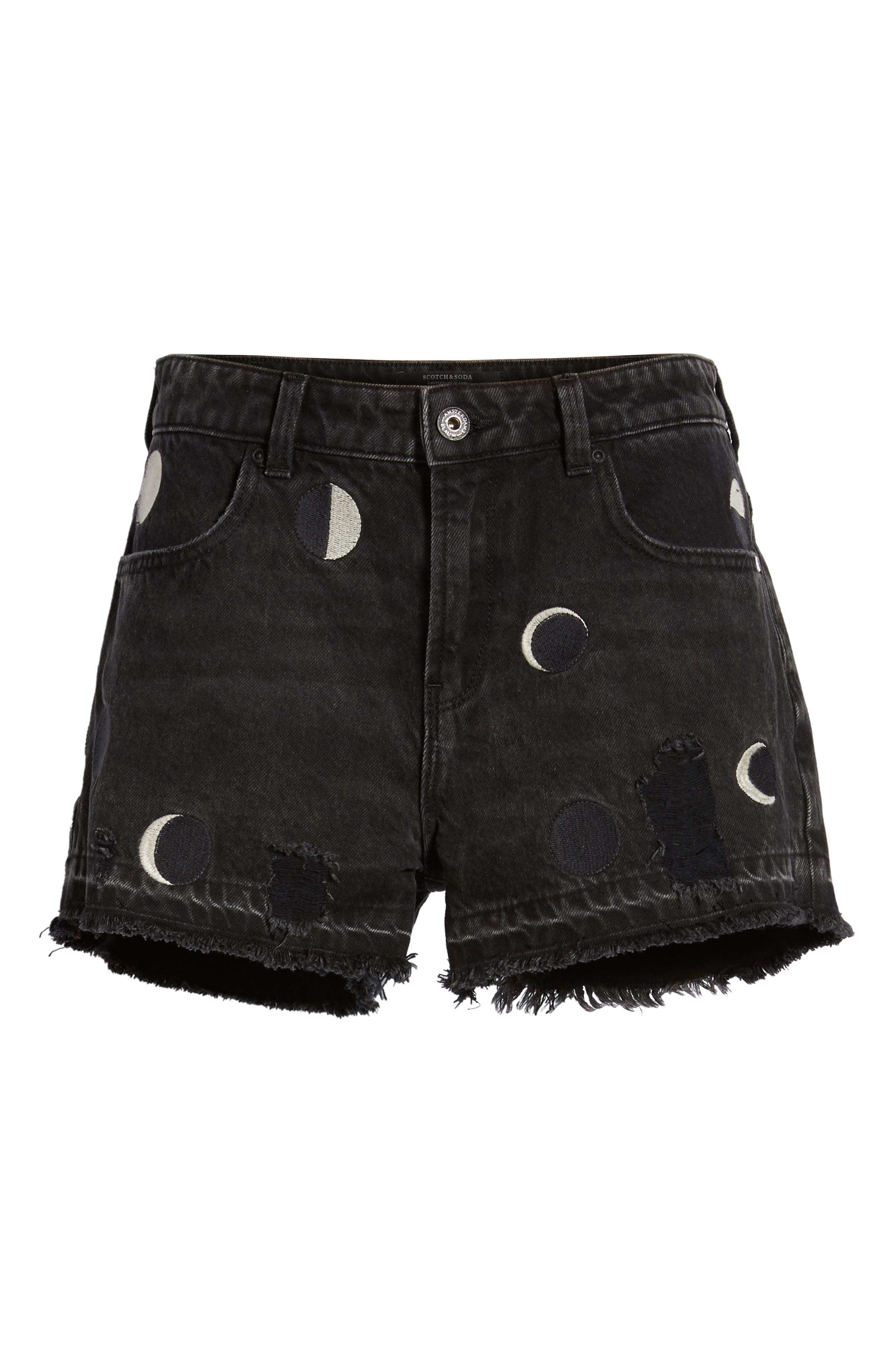 Seasonal Festival Embroidered Denim Shorts,                             Alternate thumbnail 6, color,                             721