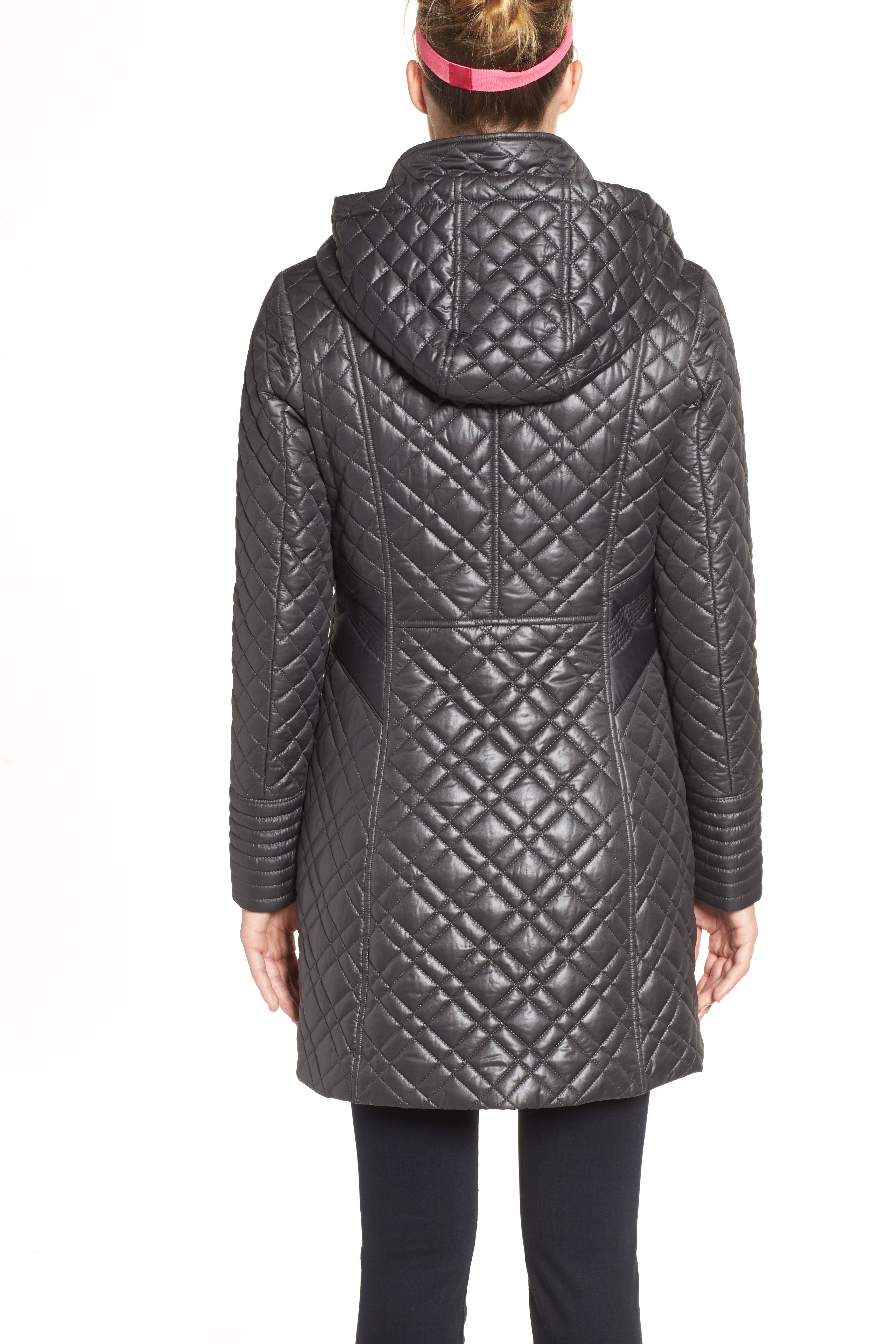 Tassel Detail Hooded Mix Quilt Coat,                             Alternate thumbnail 9, color,