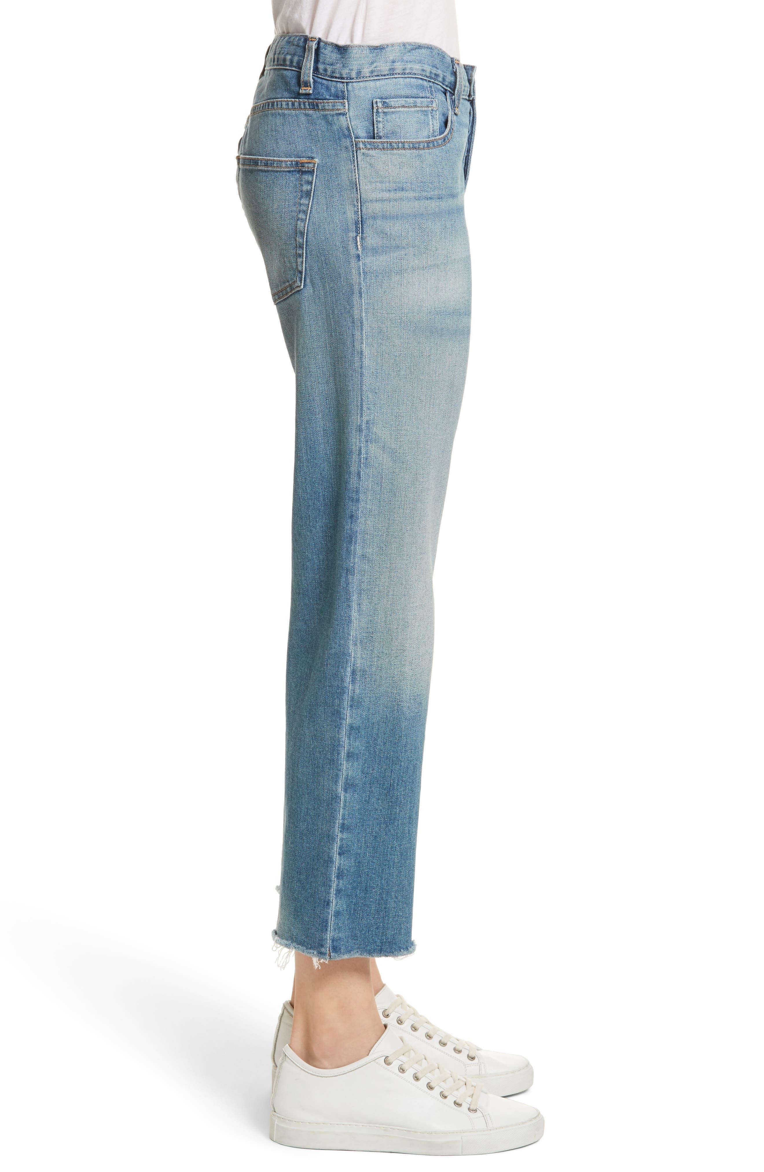 NILI LOTAN,                             Raw Edge Crop Boyfriend Jeans,                             Alternate thumbnail 3, color,                             VENICE WASH