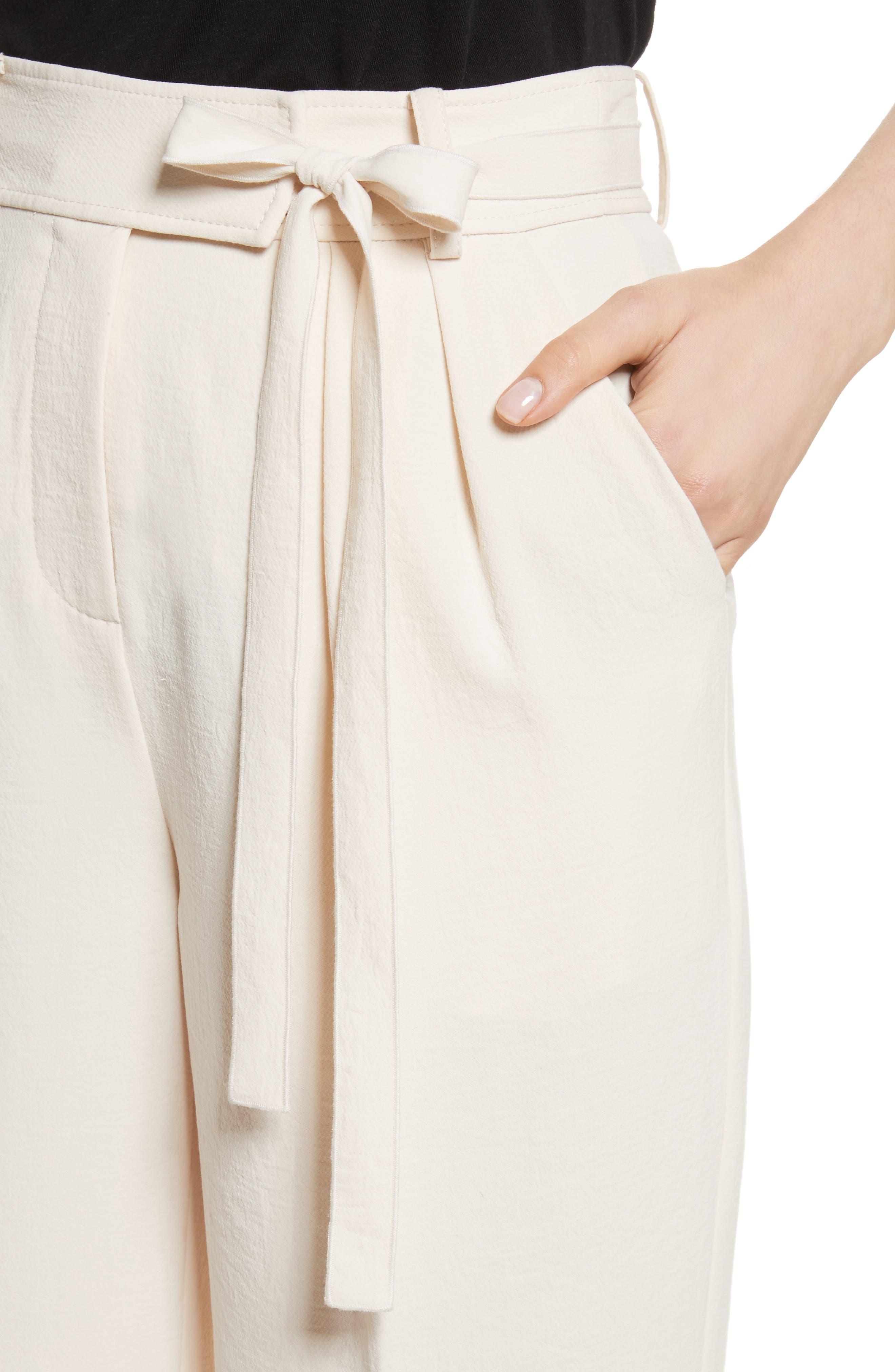 Crepe Tie Waist Pants,                             Alternate thumbnail 4, color,                             907