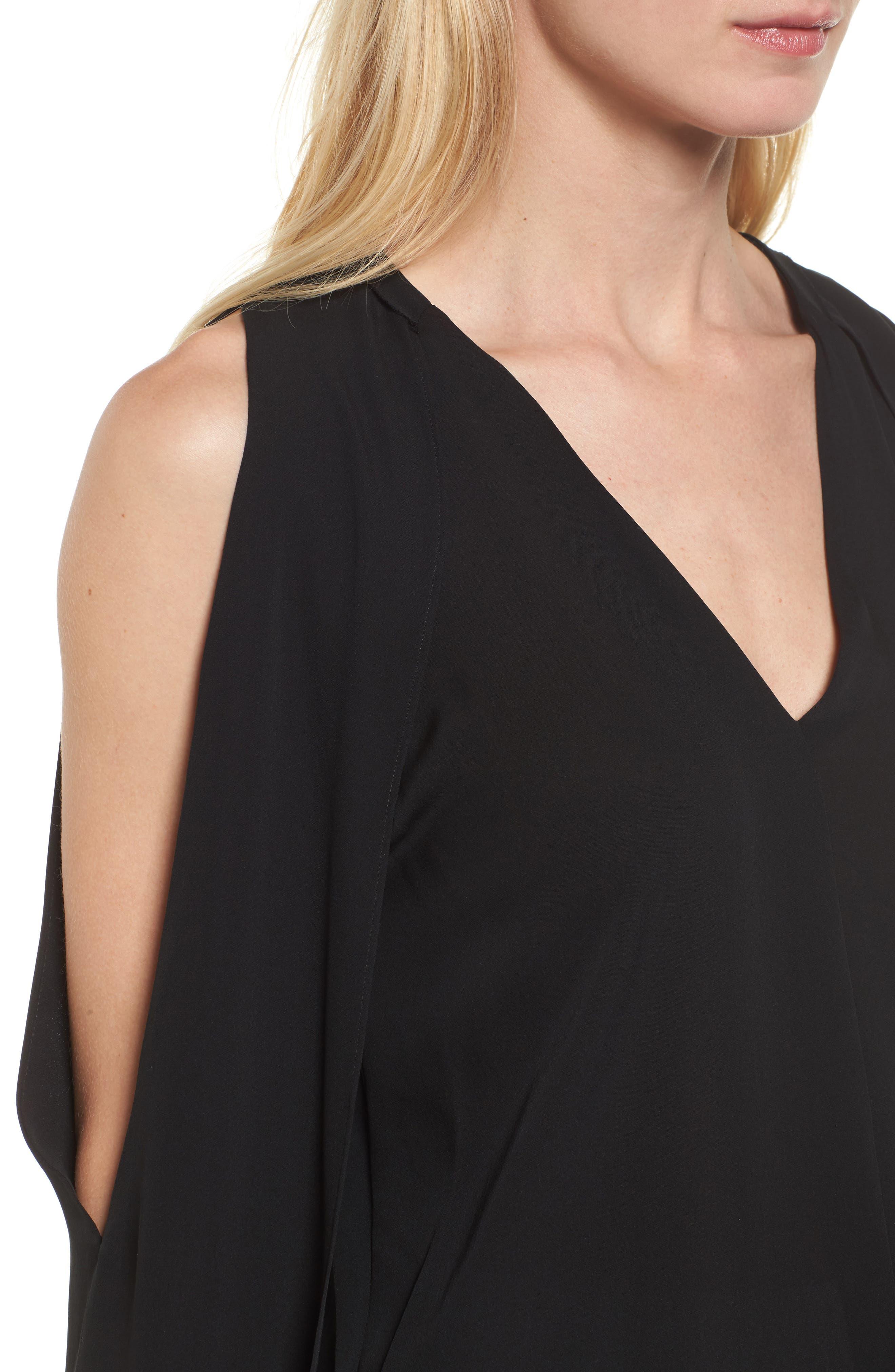 Caroline Cold Shoulder Silk Blouse,                             Alternate thumbnail 4, color,                             001