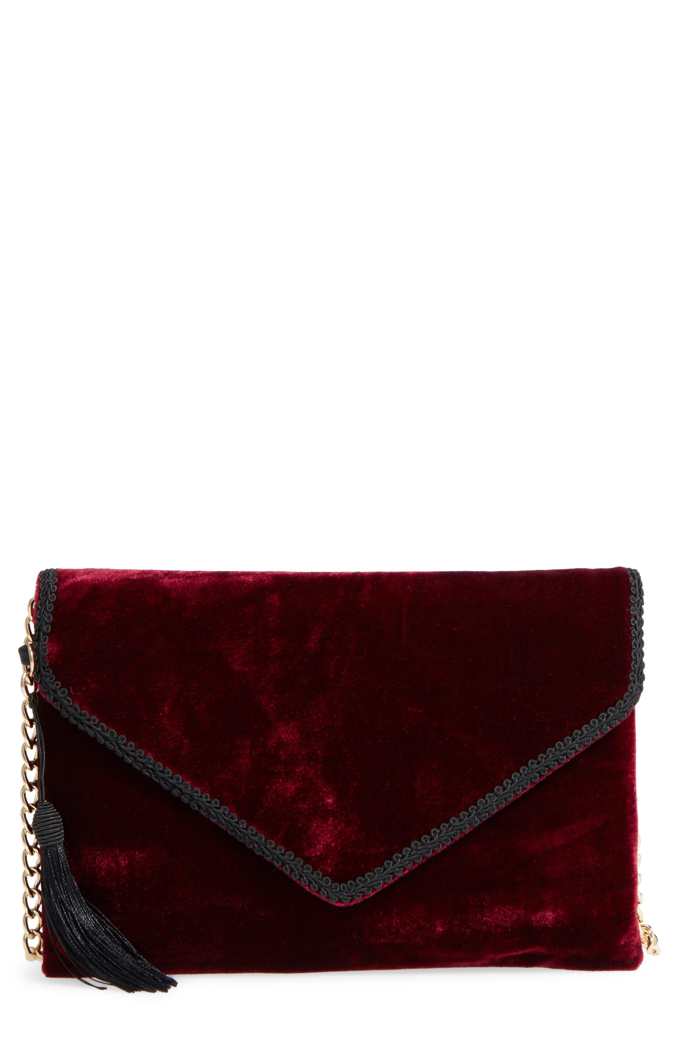 Embellished Velvet Clutch,                         Main,                         color,