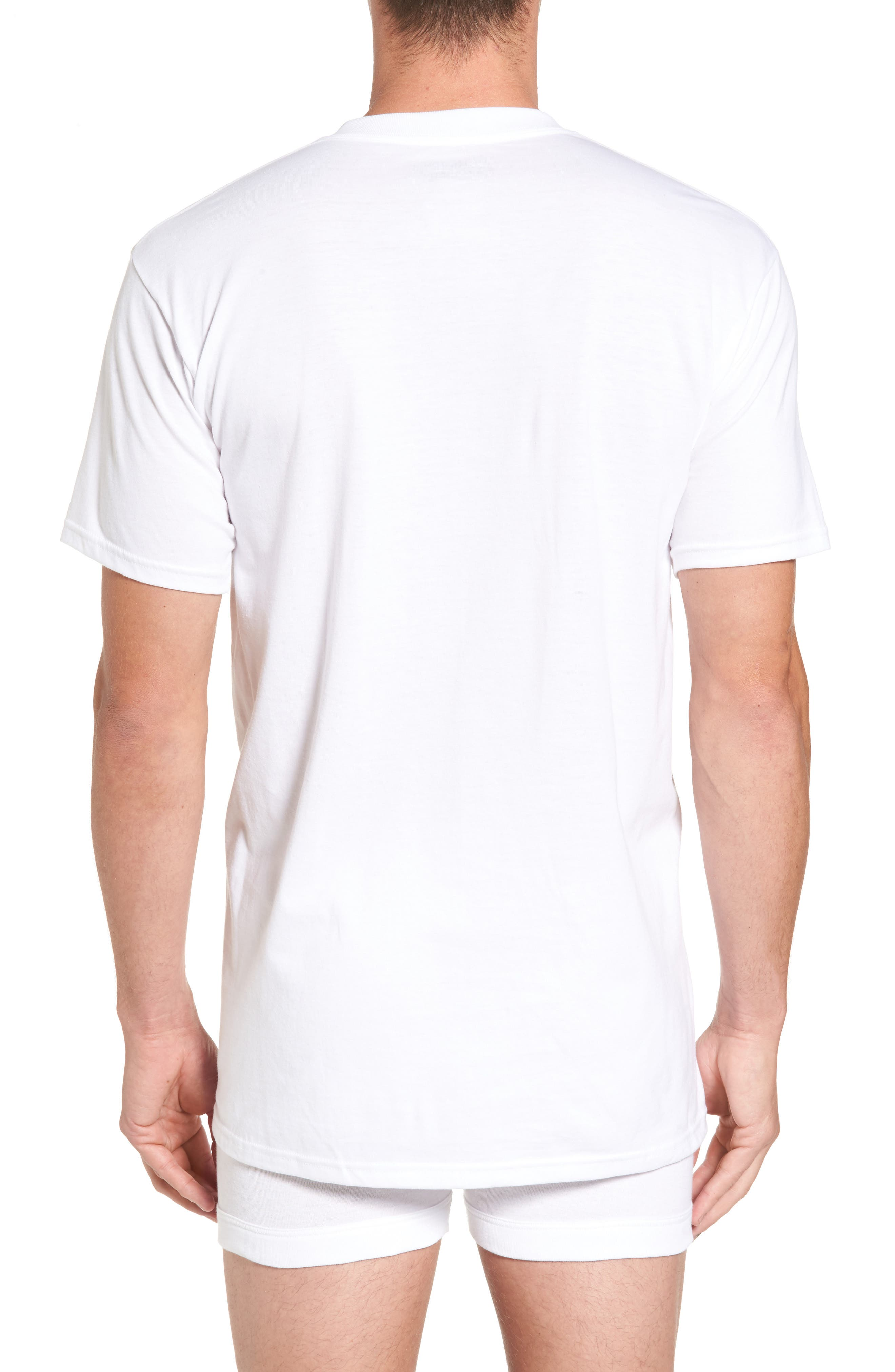 Regular Fit 4-Pack Supima<sup>®</sup> Cotton T-Shirts,                             Alternate thumbnail 2, color,                             WHITE