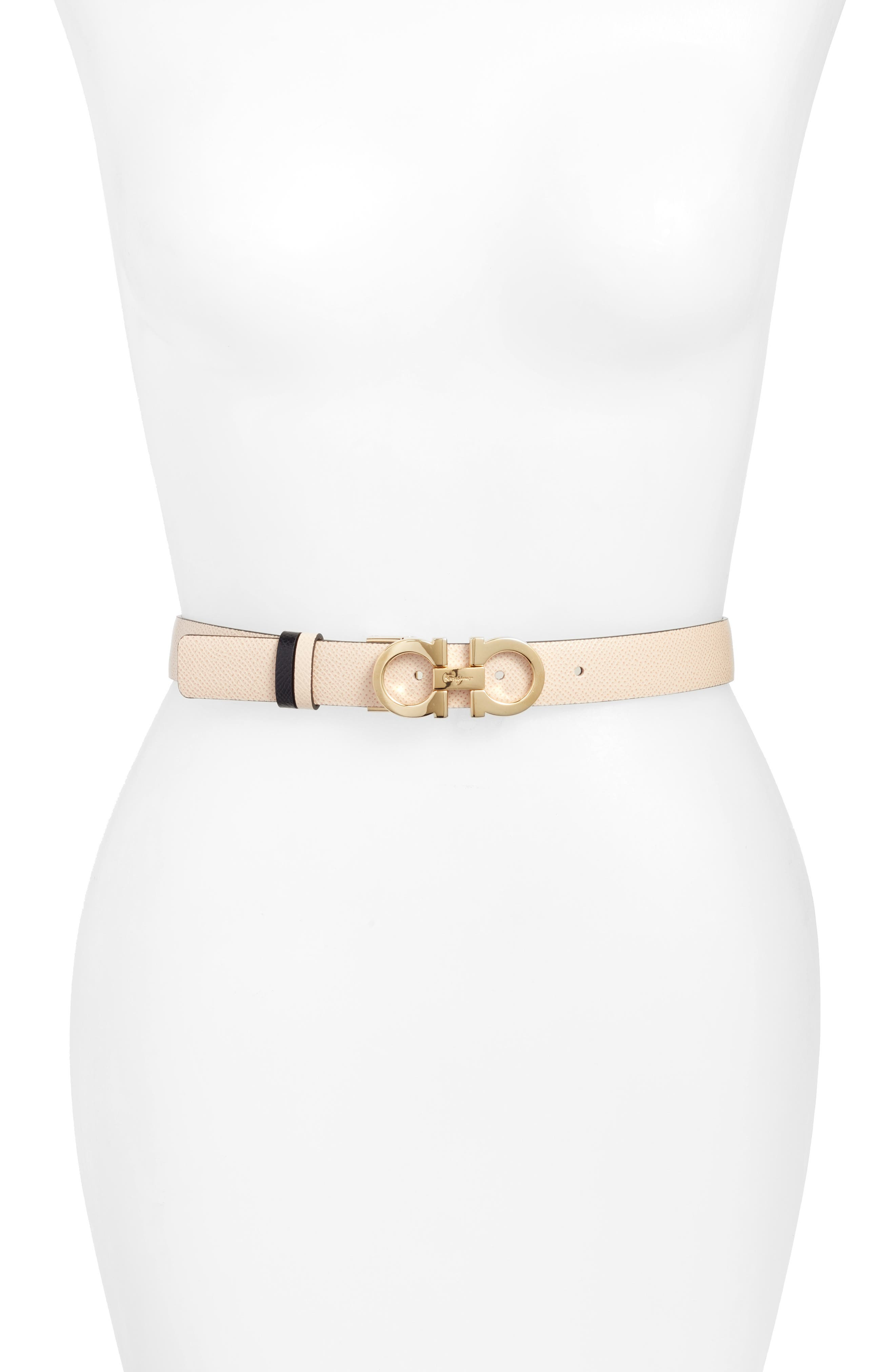 Reversible Gancini Calfskin Leather Belt,                         Main,                         color, MACADAMIA/ NERO
