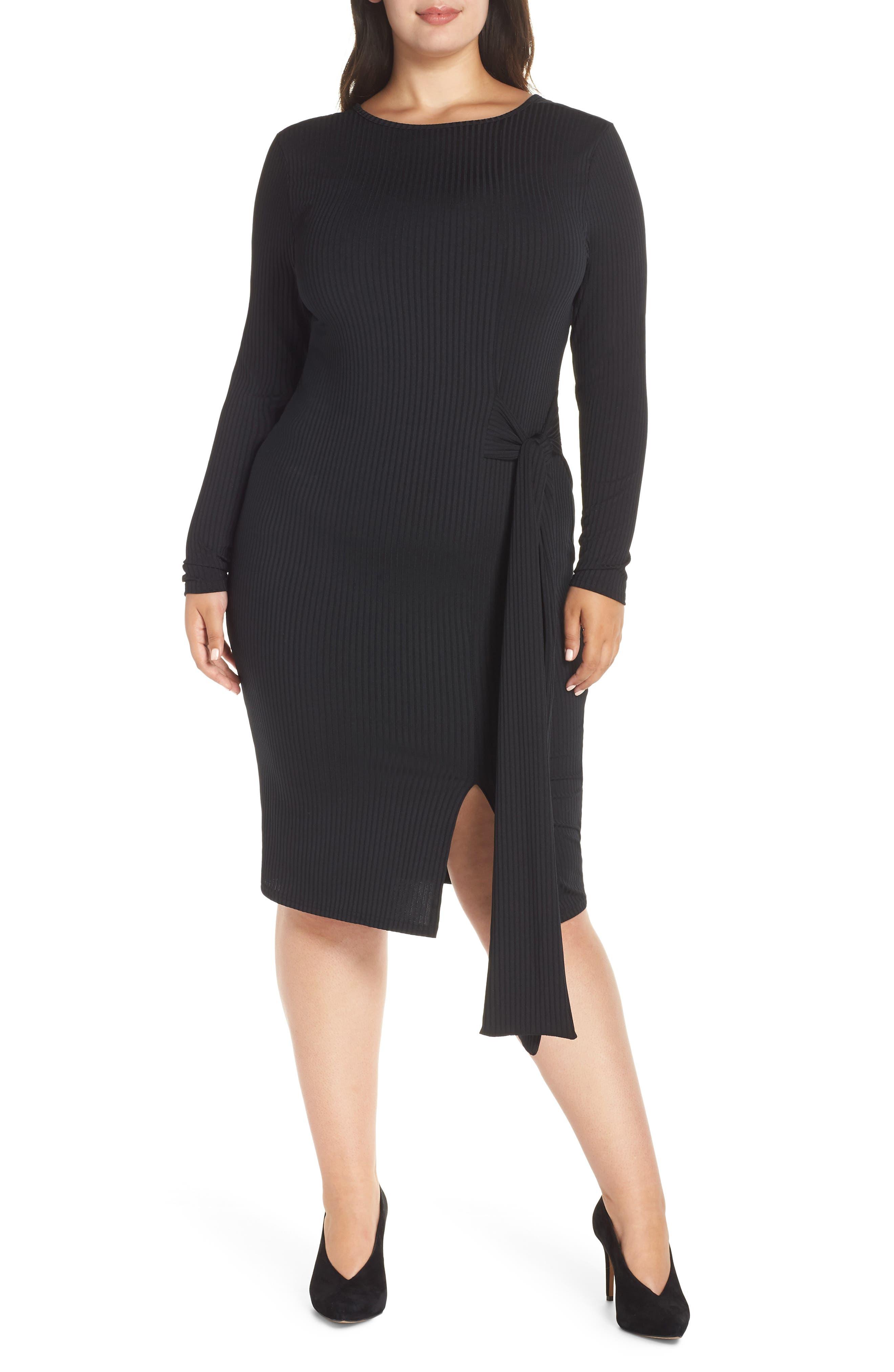 Ribbed Tie Body-Con Dress,                         Main,                         color, 001