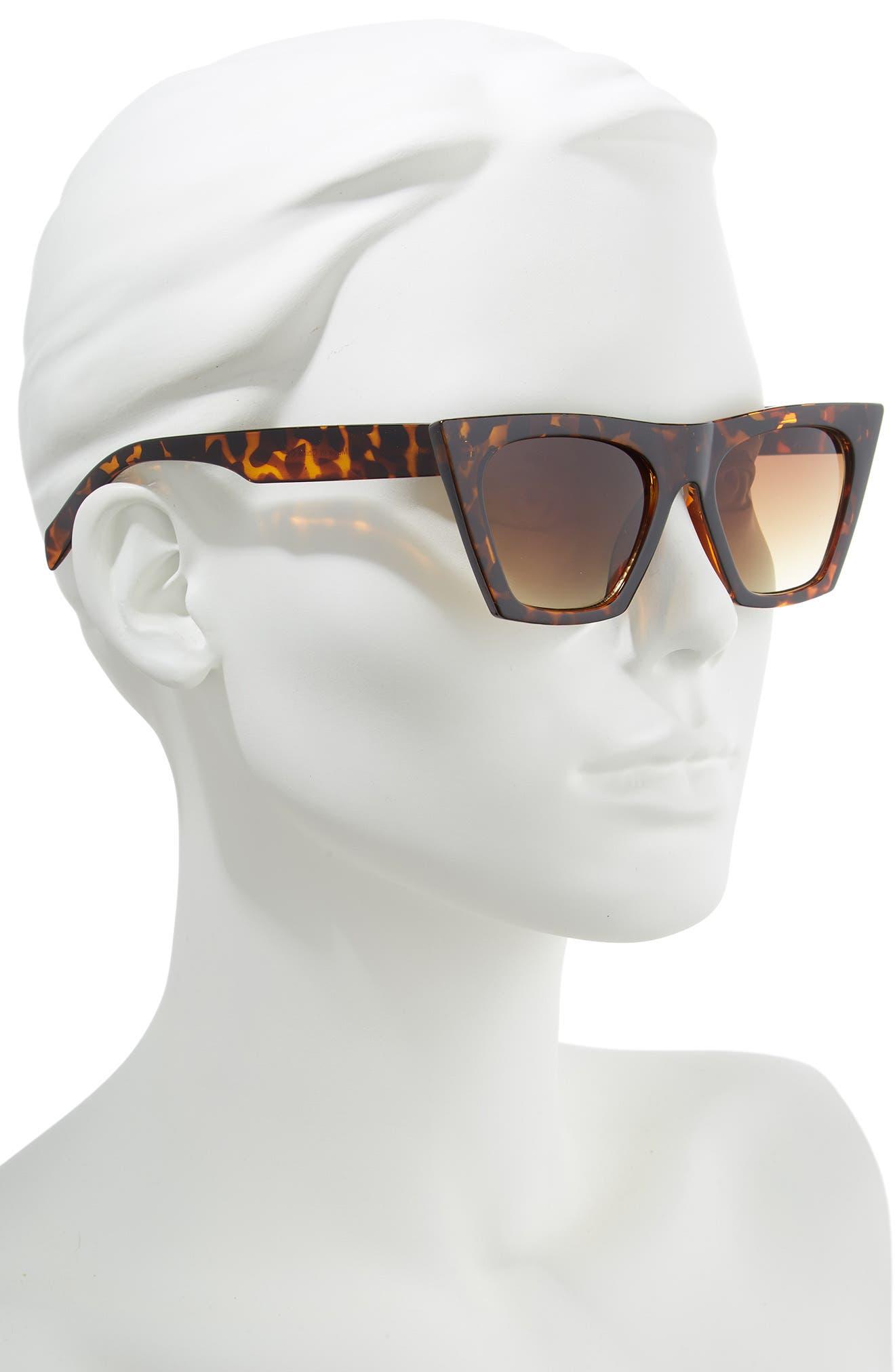 50mm Cat Eye Sunglasses,                             Alternate thumbnail 2, color,                             BROWN MULTI