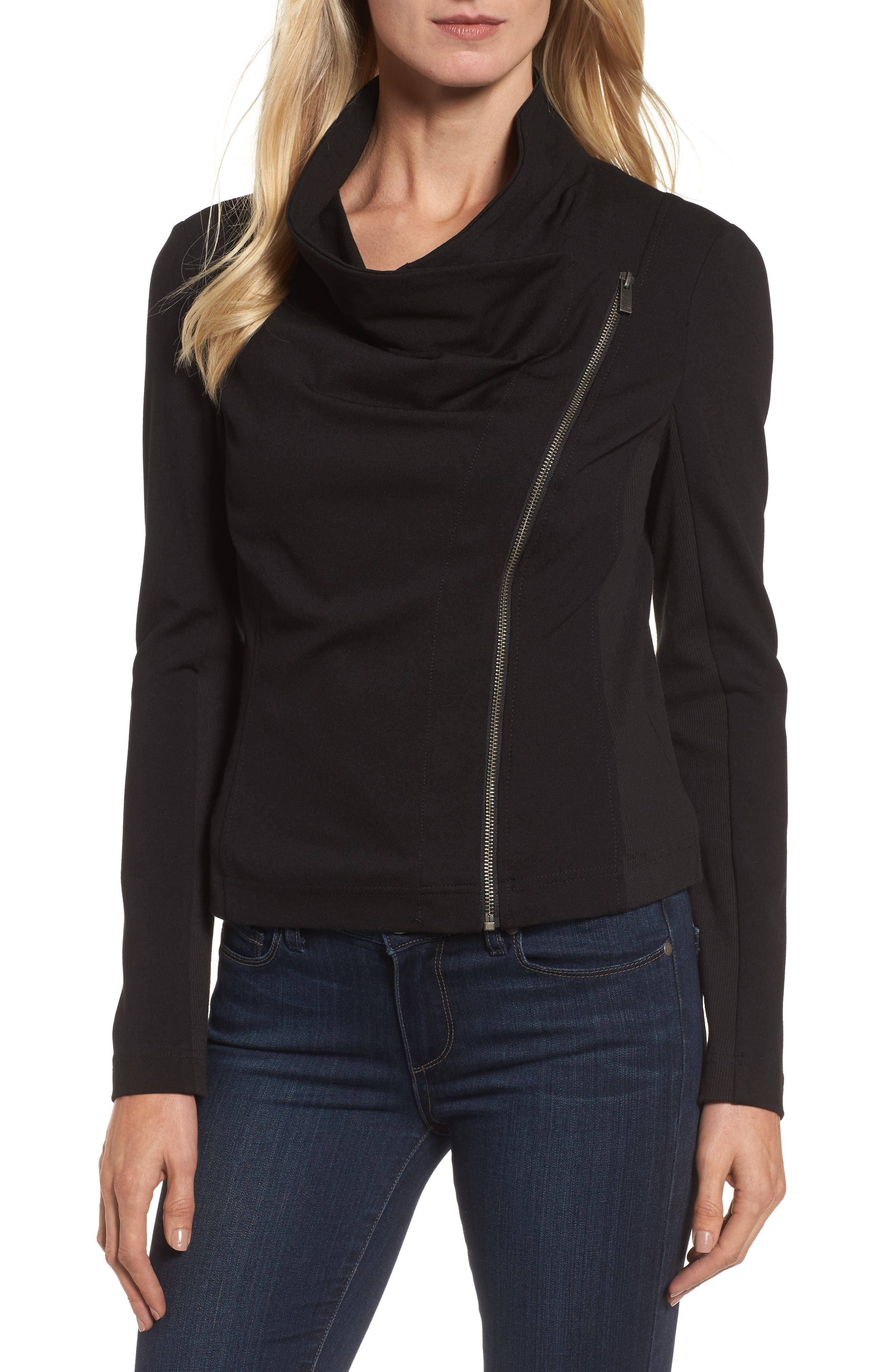 Two by Vince Camuto Ponte Moto Jacket,                             Alternate thumbnail 4, color,                             006
