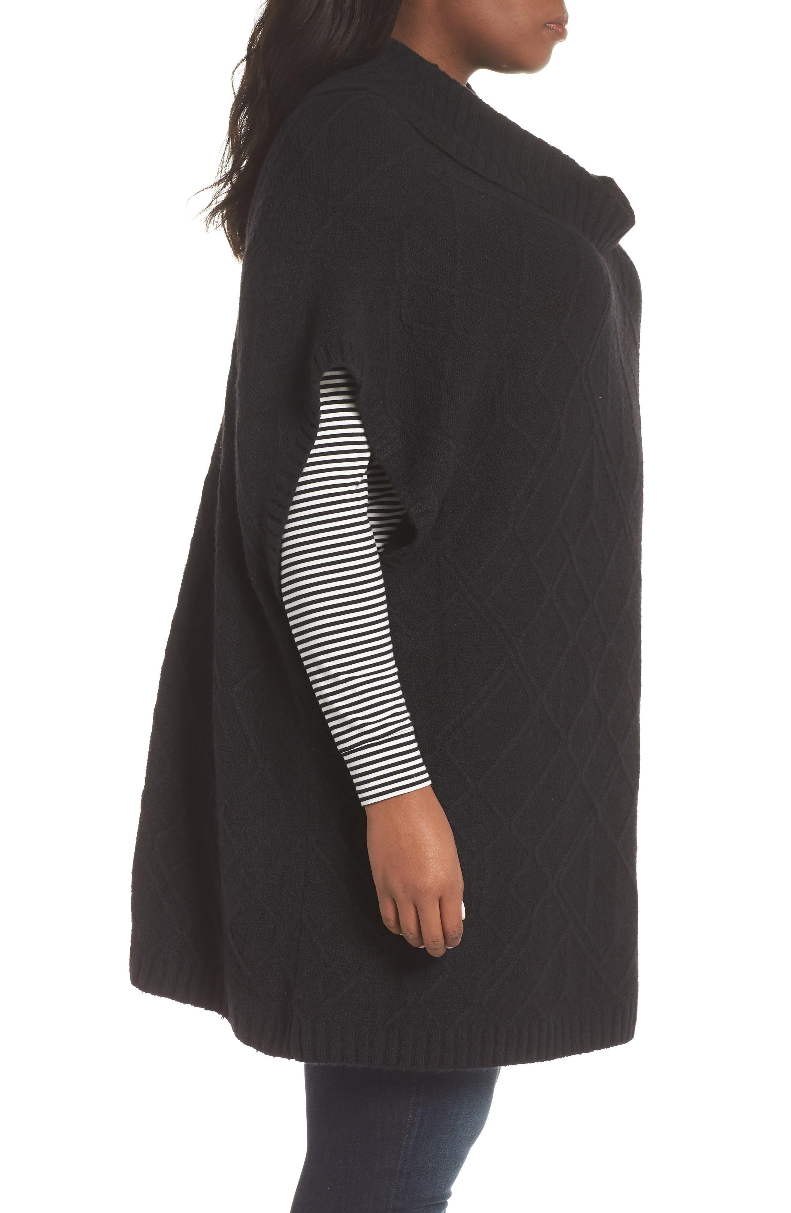 Poncho Sweater,                             Alternate thumbnail 3, color,                             BLACK