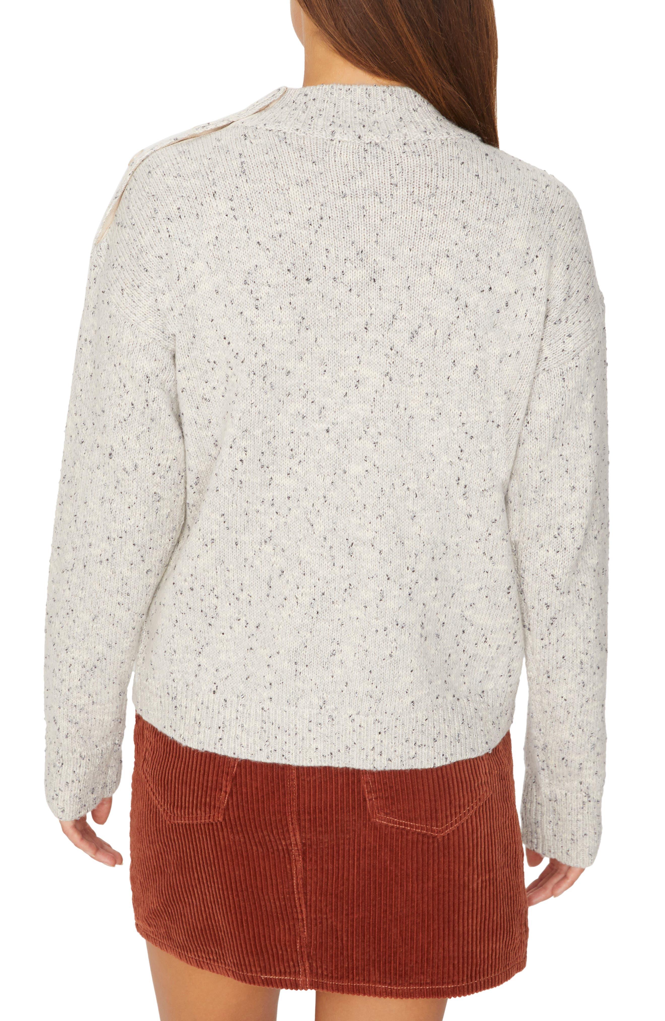 Jasper Button Detail Mock Neck Sweater,                             Alternate thumbnail 2, color,                             HEATHER STERLING