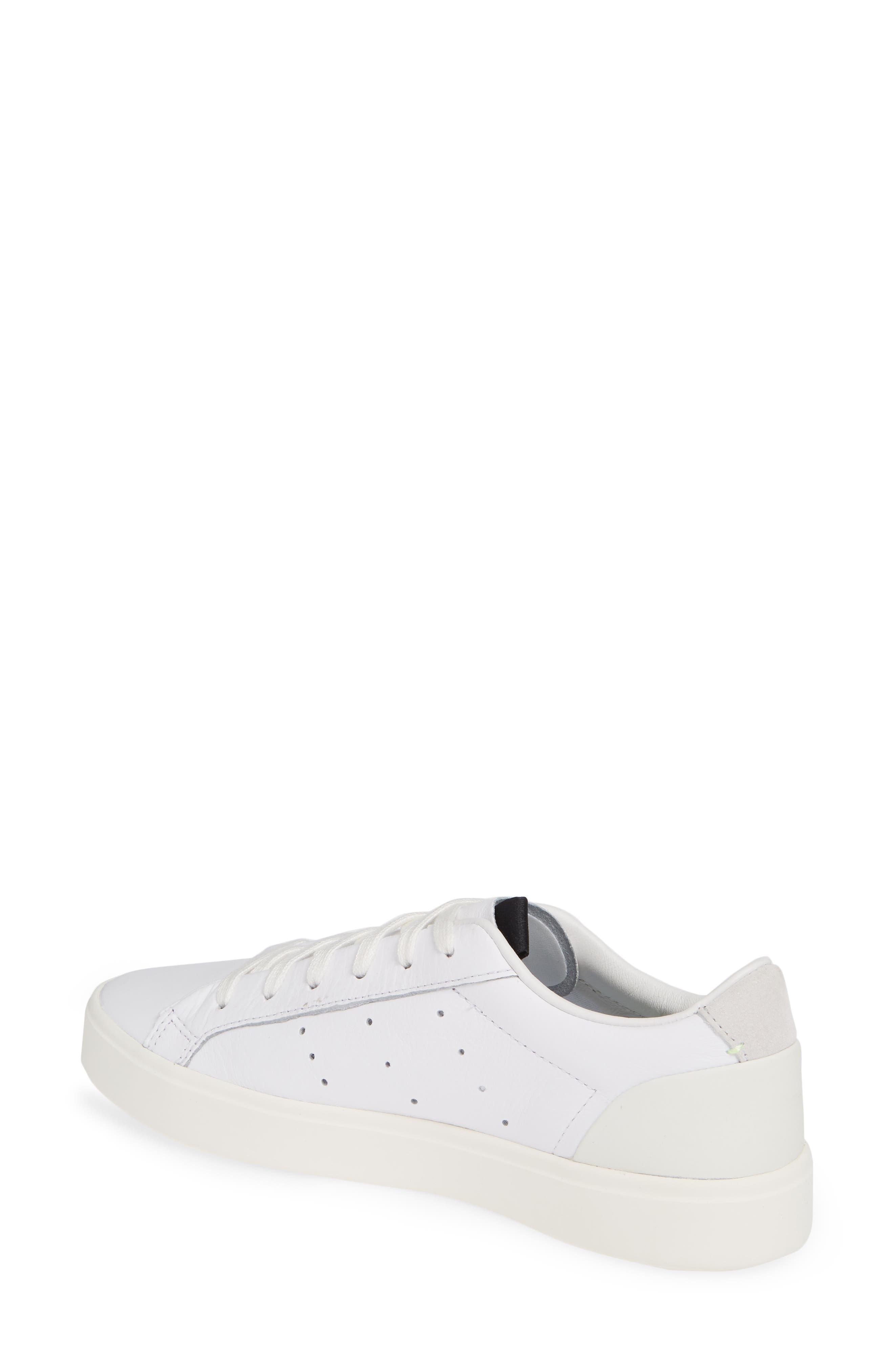 ADIDAS,                             Sleek Leather Sneaker,                             Alternate thumbnail 2, color,                             WHITE/ OFF WHITE/ CRYSTAL