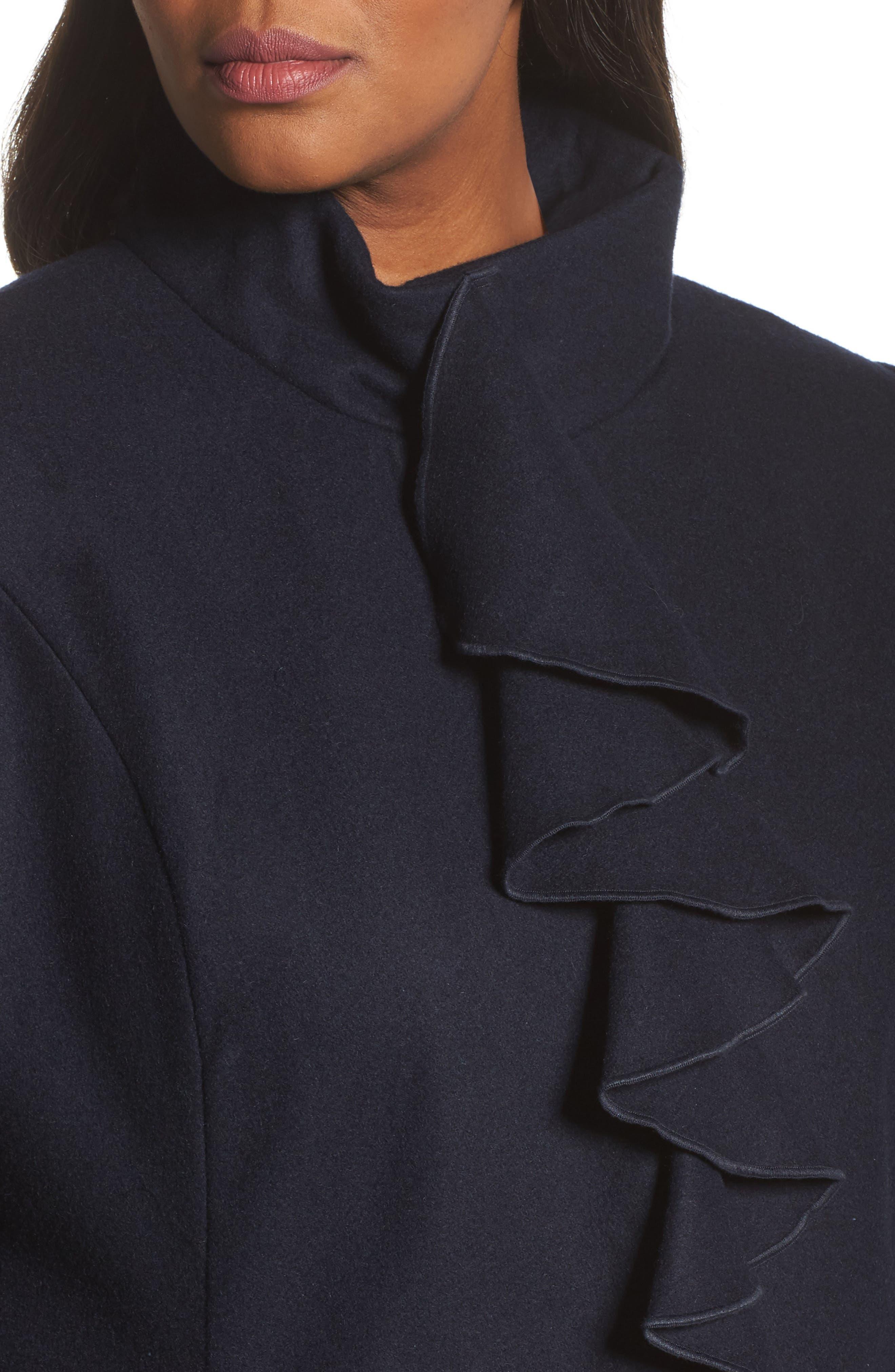 Kate Ruffle Wool Blend Coat,                             Alternate thumbnail 12, color,