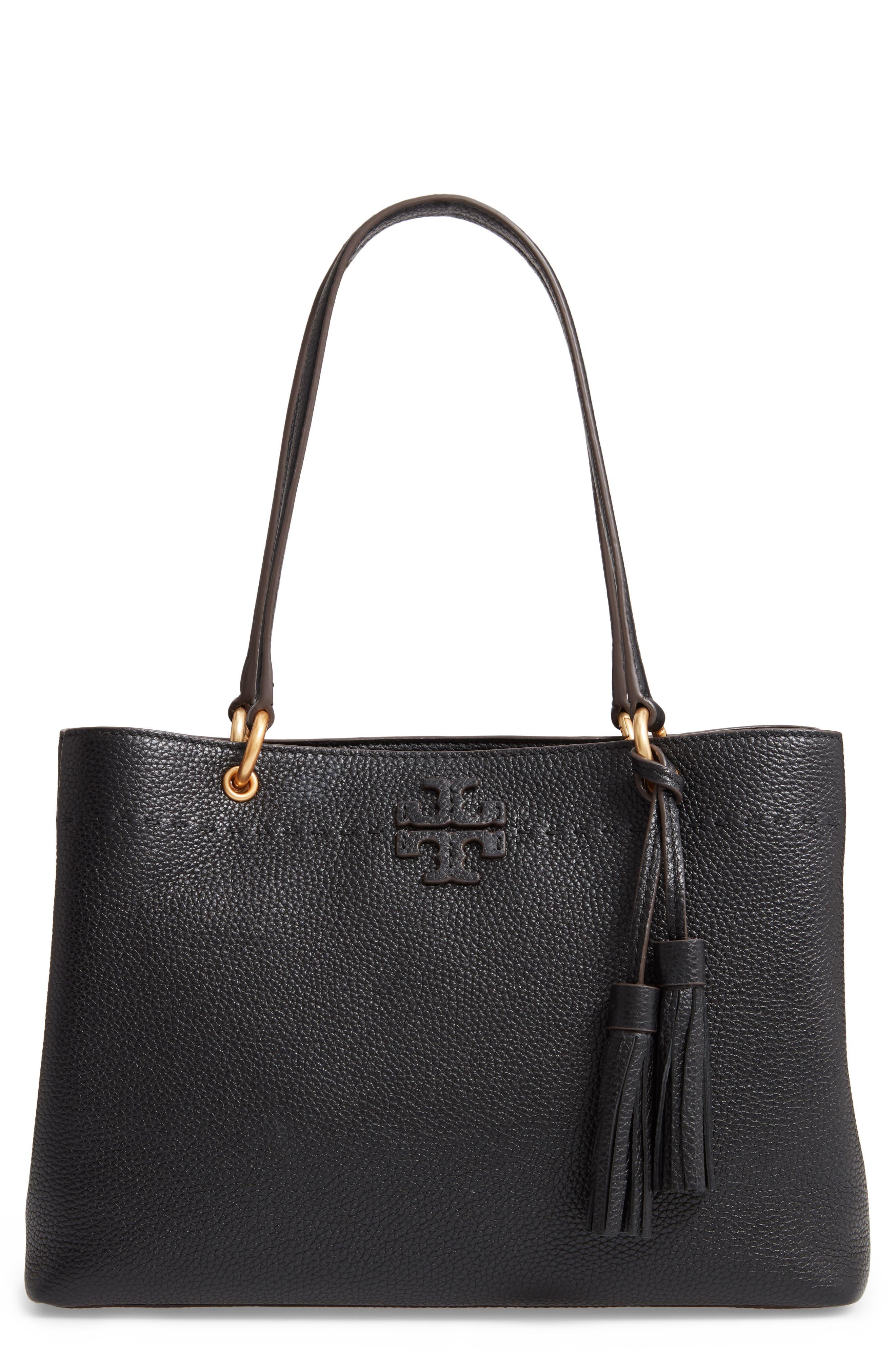 McGraw Triple Compartment Leather Satchel,                         Main,                         color, BLACK