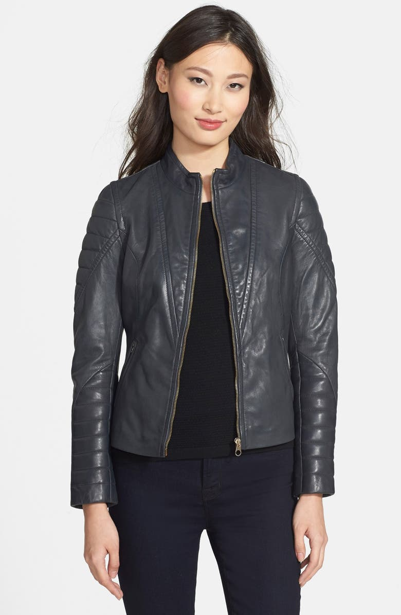 Ted Baker London Quilted Sleeve Leather Jacket Nordstrom