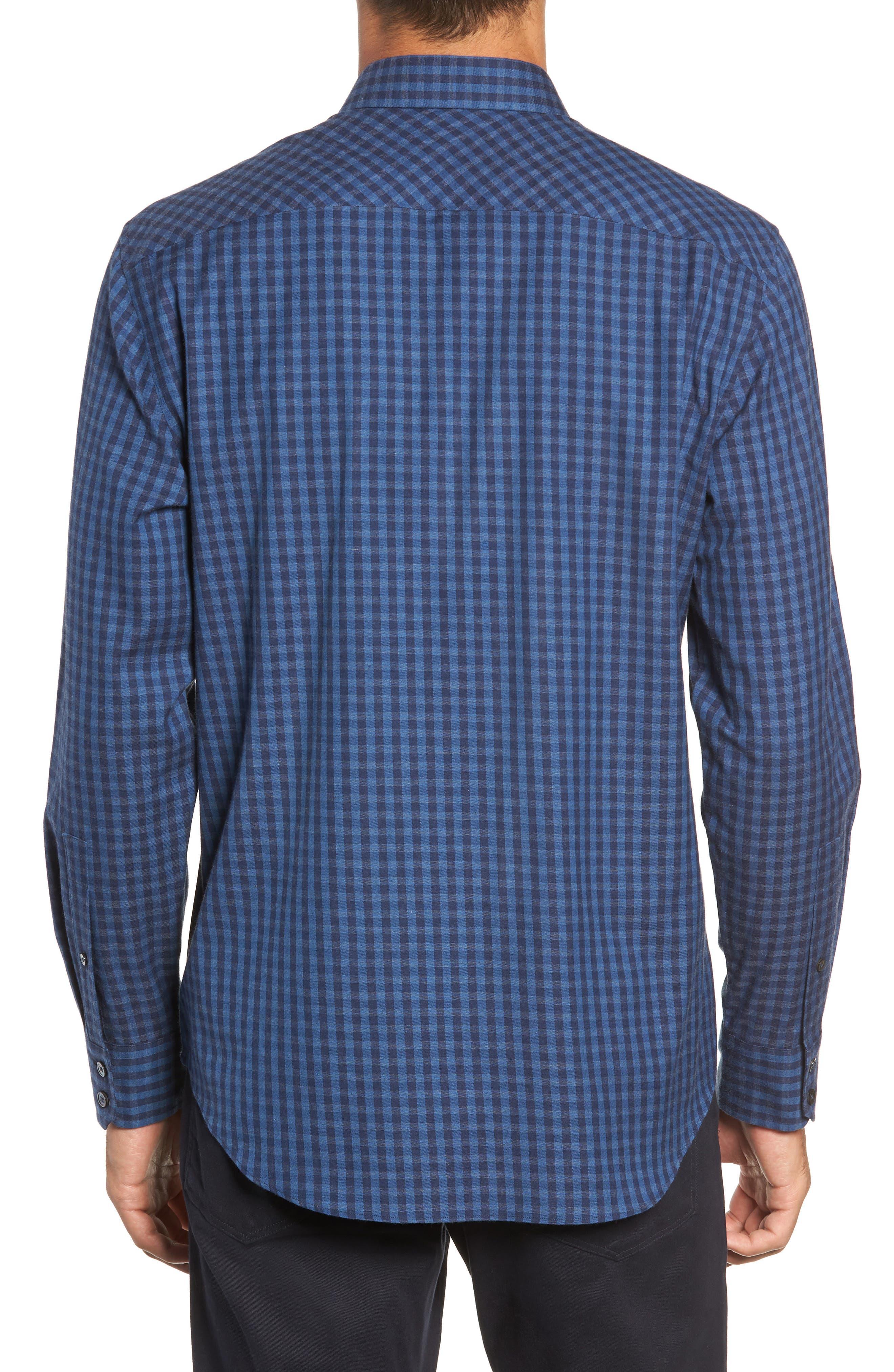 Santana Check Sport Shirt,                             Alternate thumbnail 3, color,                             DARK BLUE