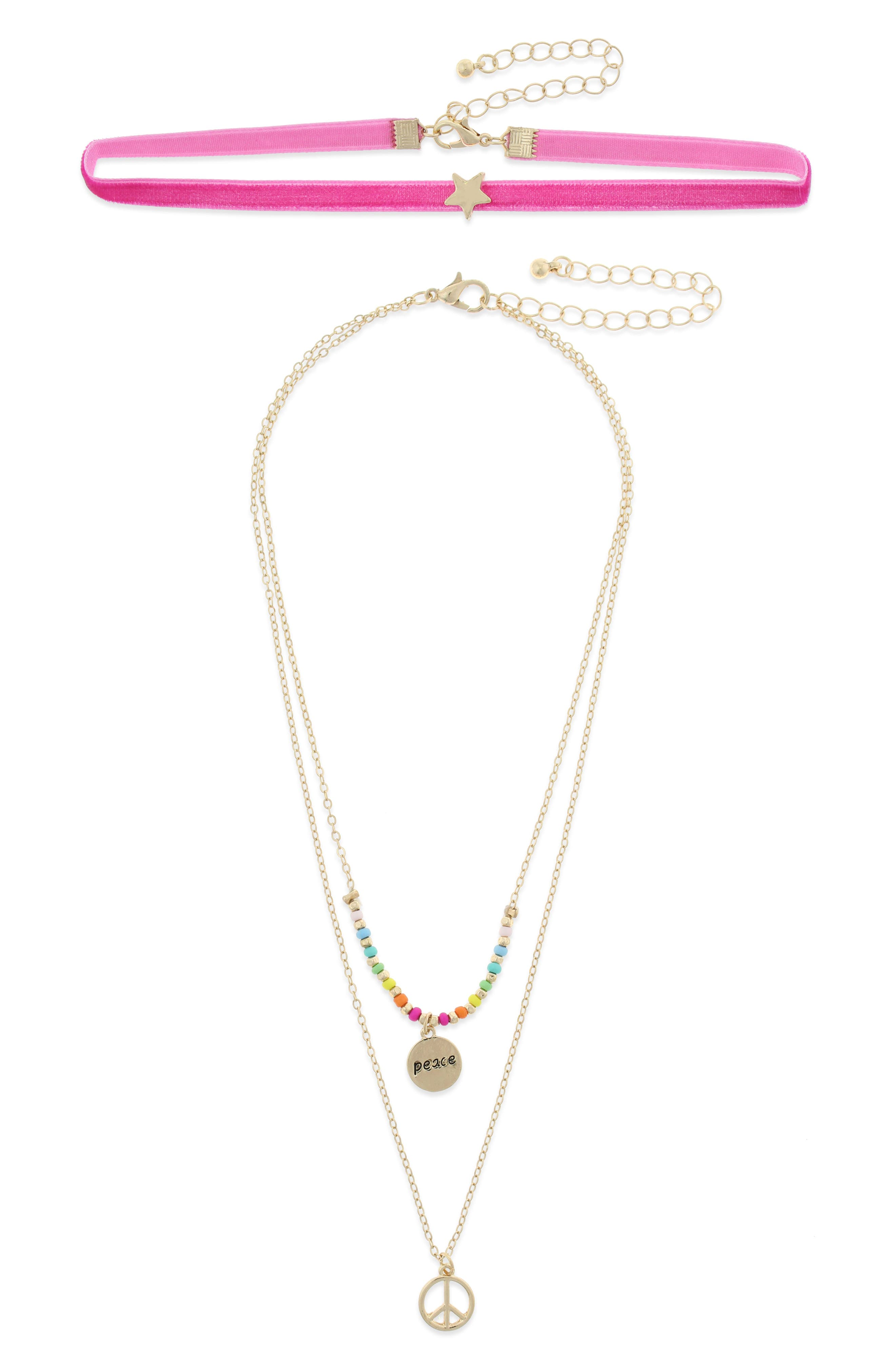 Peace & Love Layered Choker Necklace,                         Main,                         color, PINK