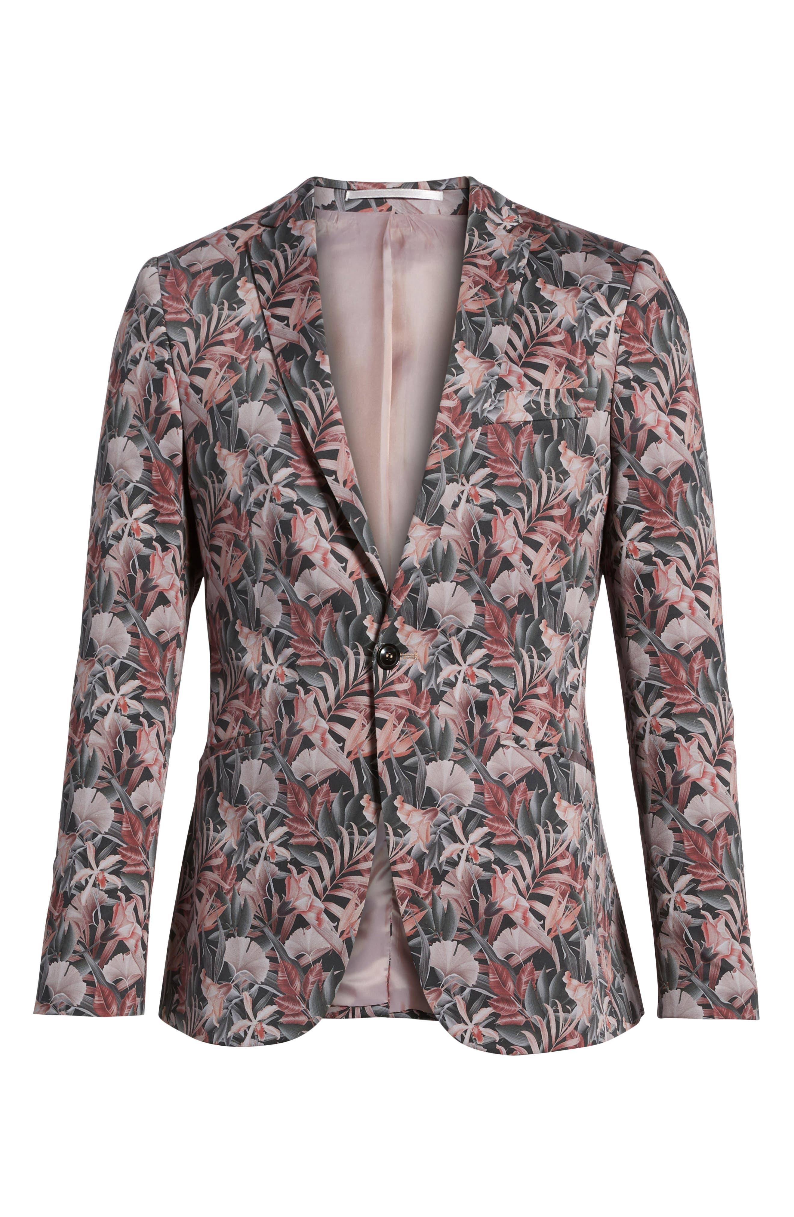 Ultra Skinny Fit Hibiscus Print Suit Jacket,                             Alternate thumbnail 5, color,                             650